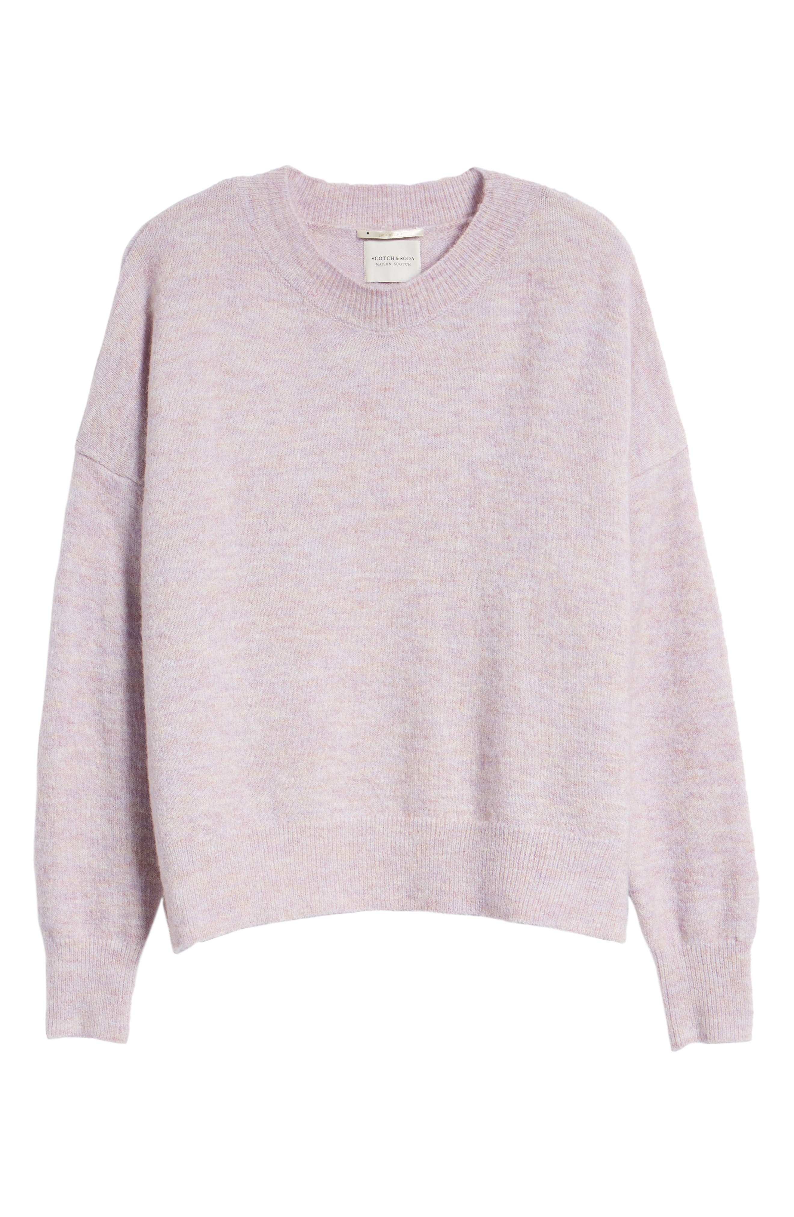 Crewneck Sweater,                             Alternate thumbnail 6, color,                             LILAC MELANGE