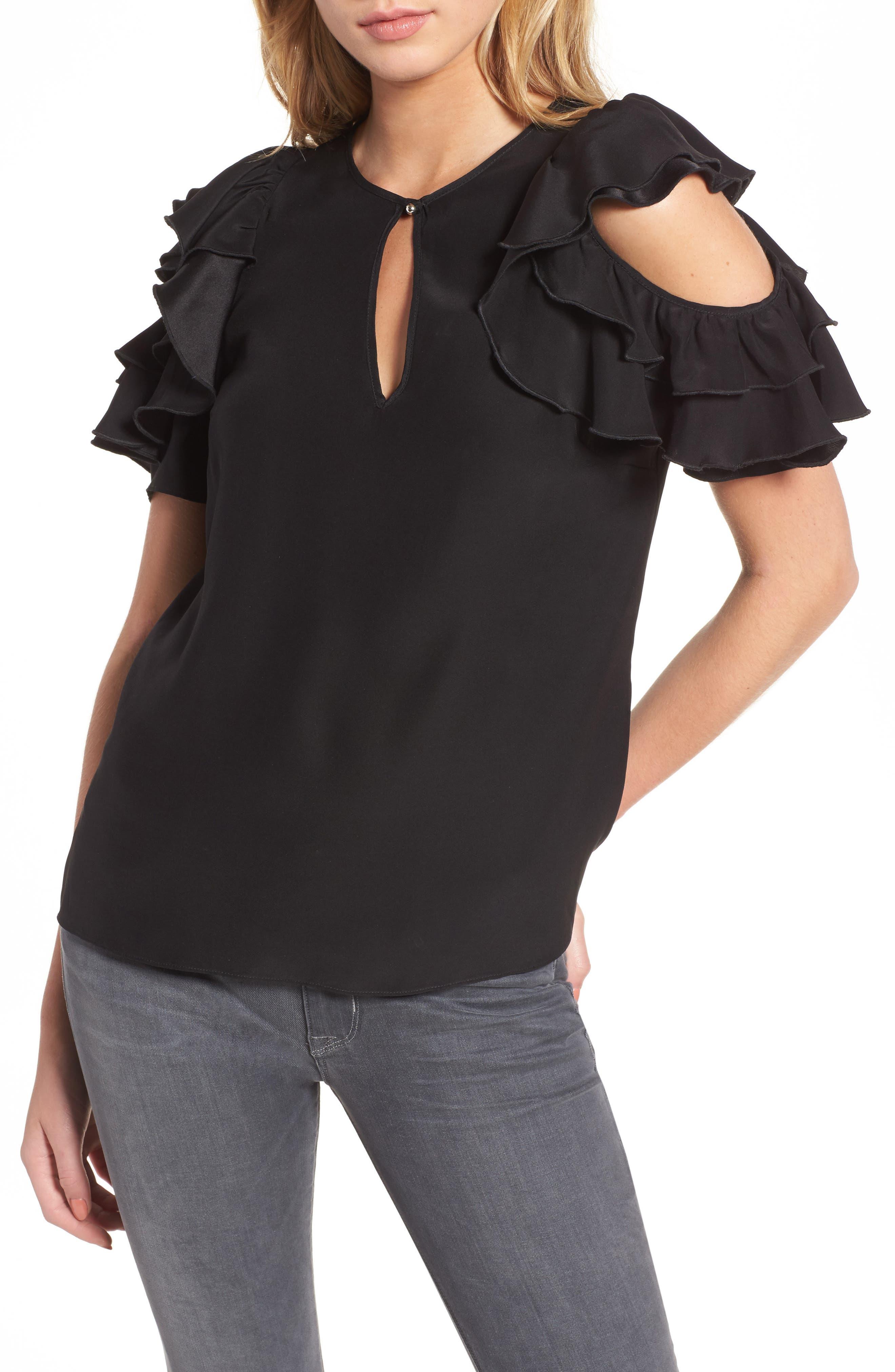 Brandie Cold Shoulder Silk Top,                             Main thumbnail 1, color,                             001