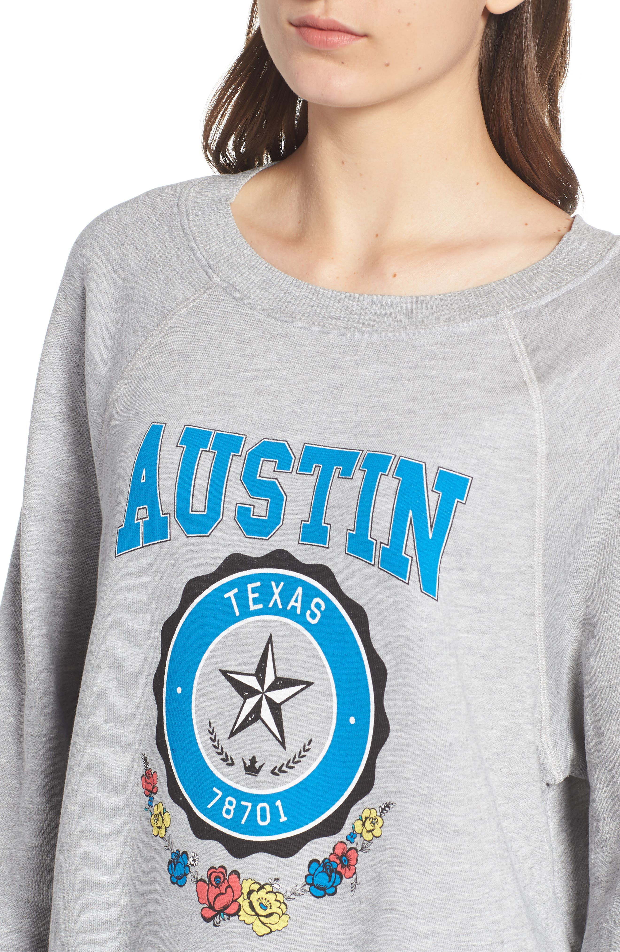 Austin Crest Sommers Sweatshirt,                             Alternate thumbnail 4, color,                             HEATHER