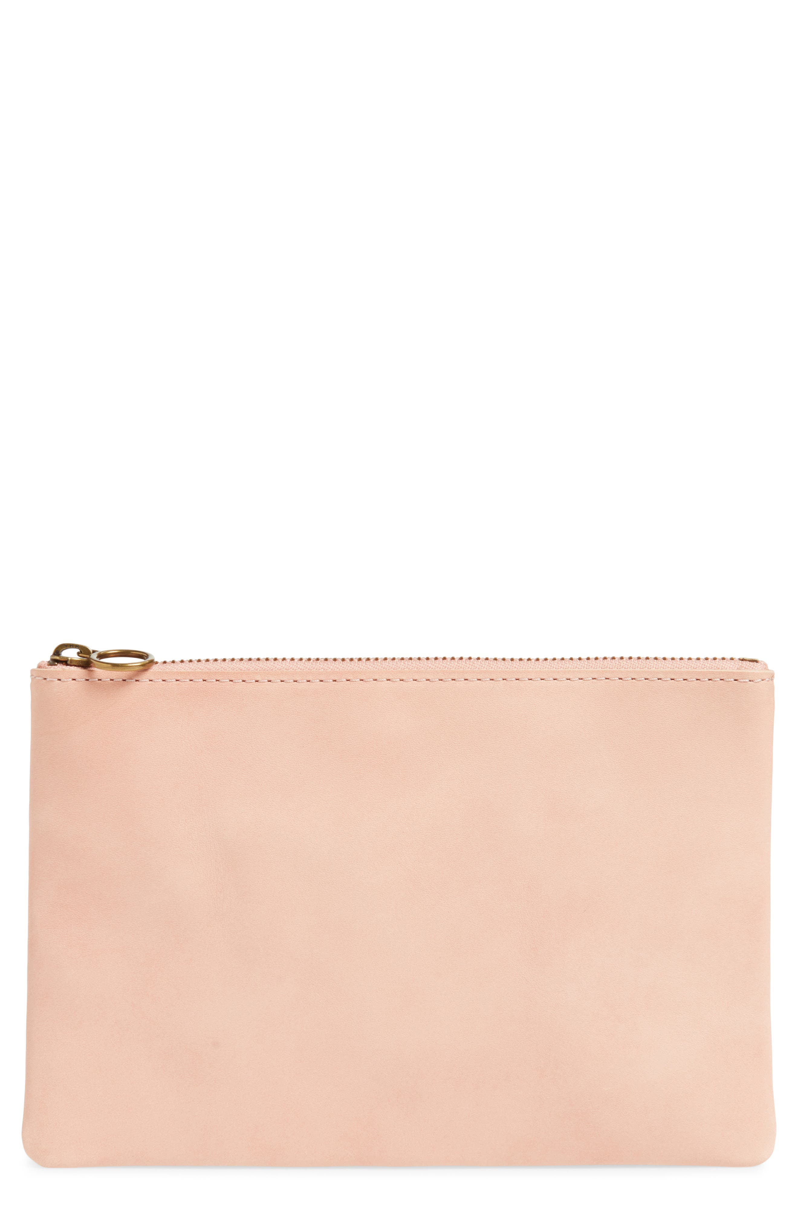 The Leather Pouch Clutch,                         Main,                         color, PETAL PINK