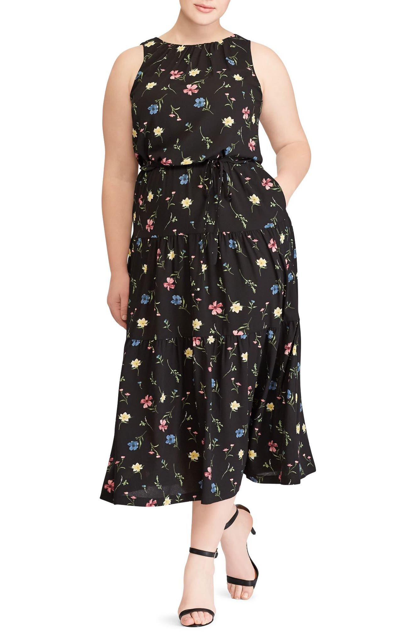 Tiered Floral Midi Dress,                             Main thumbnail 1, color,                             BLACK-RED-MULTI