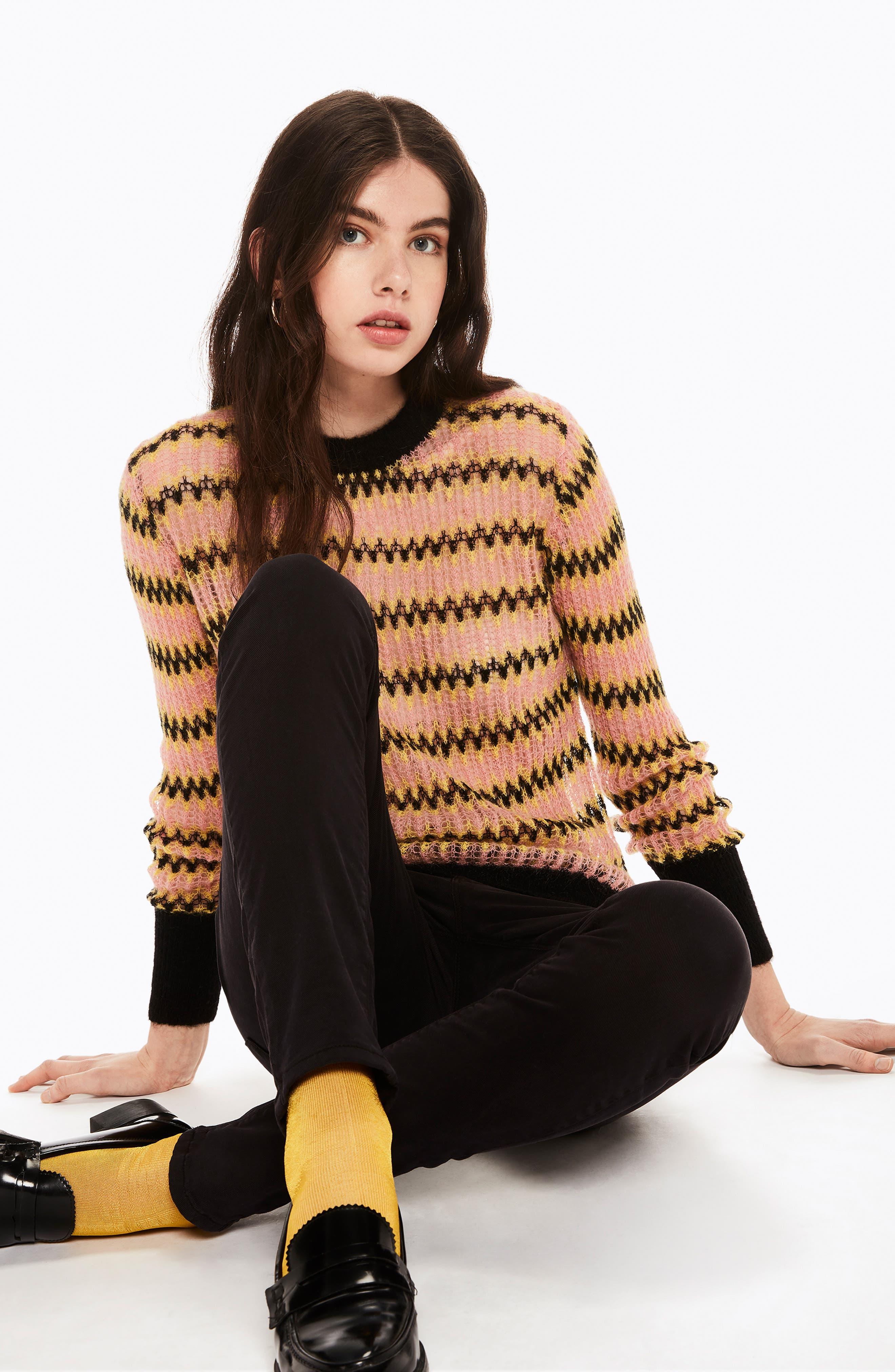 Zig Zag Wool Blend Sweater,                             Alternate thumbnail 8, color,                             MULTI PINK YELLOW ZIGZAG PRINT