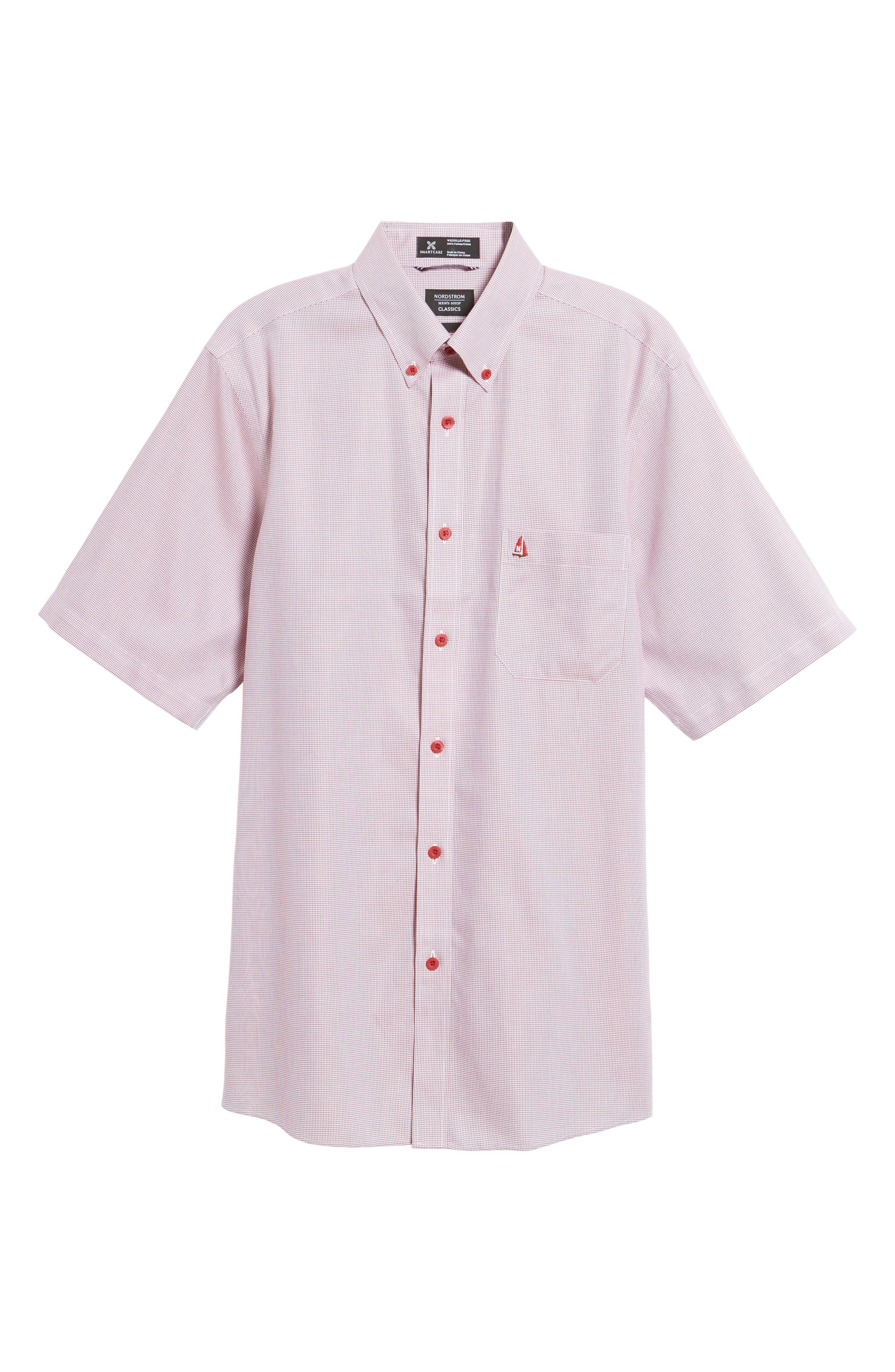 'Classic' Smartcare<sup>™</sup> Regular Fit Short Sleeve Cotton Sport Shirt,                             Alternate thumbnail 102, color,