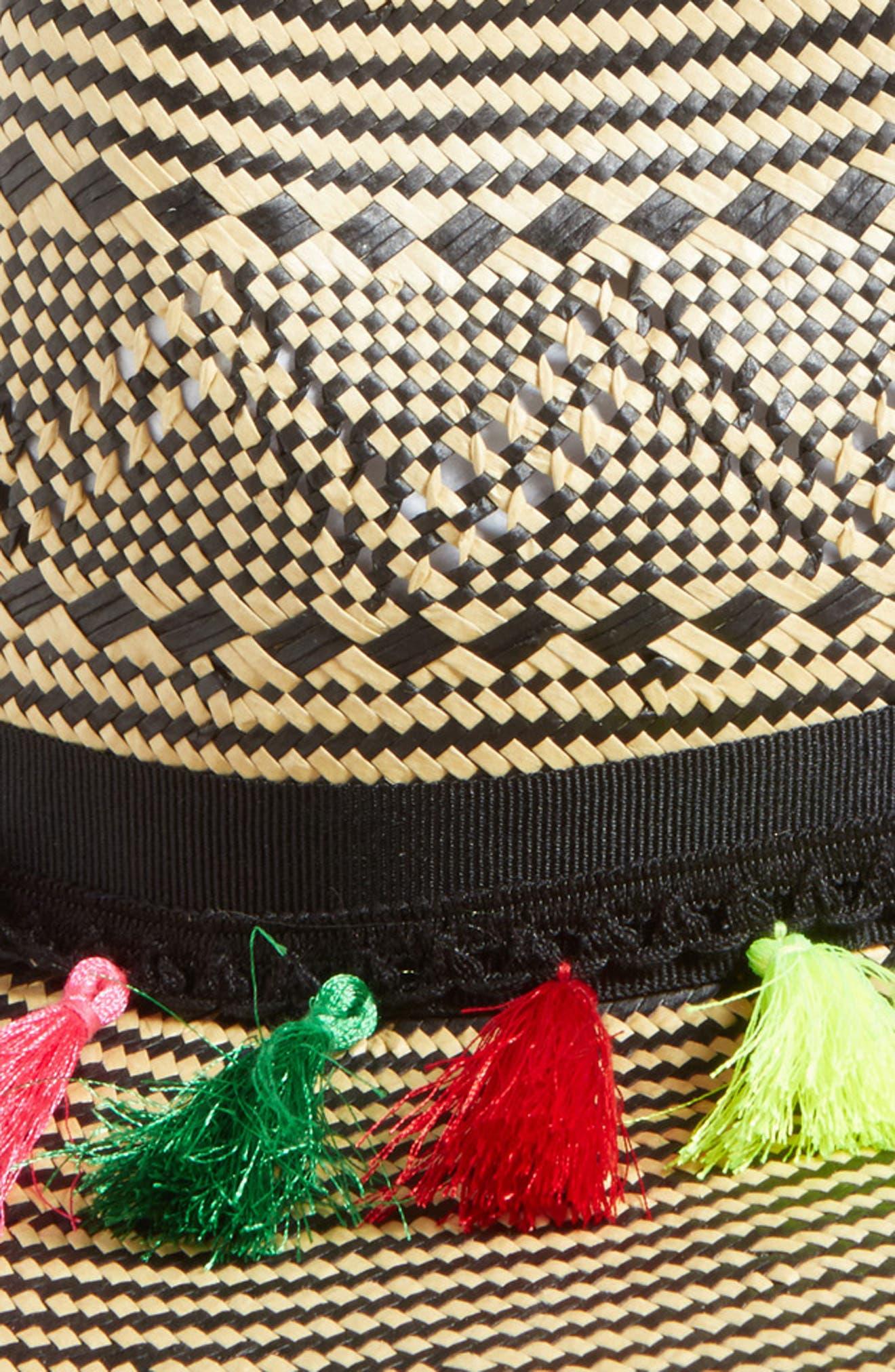 Playa Tassel Woven Safari Hat,                             Alternate thumbnail 2, color,
