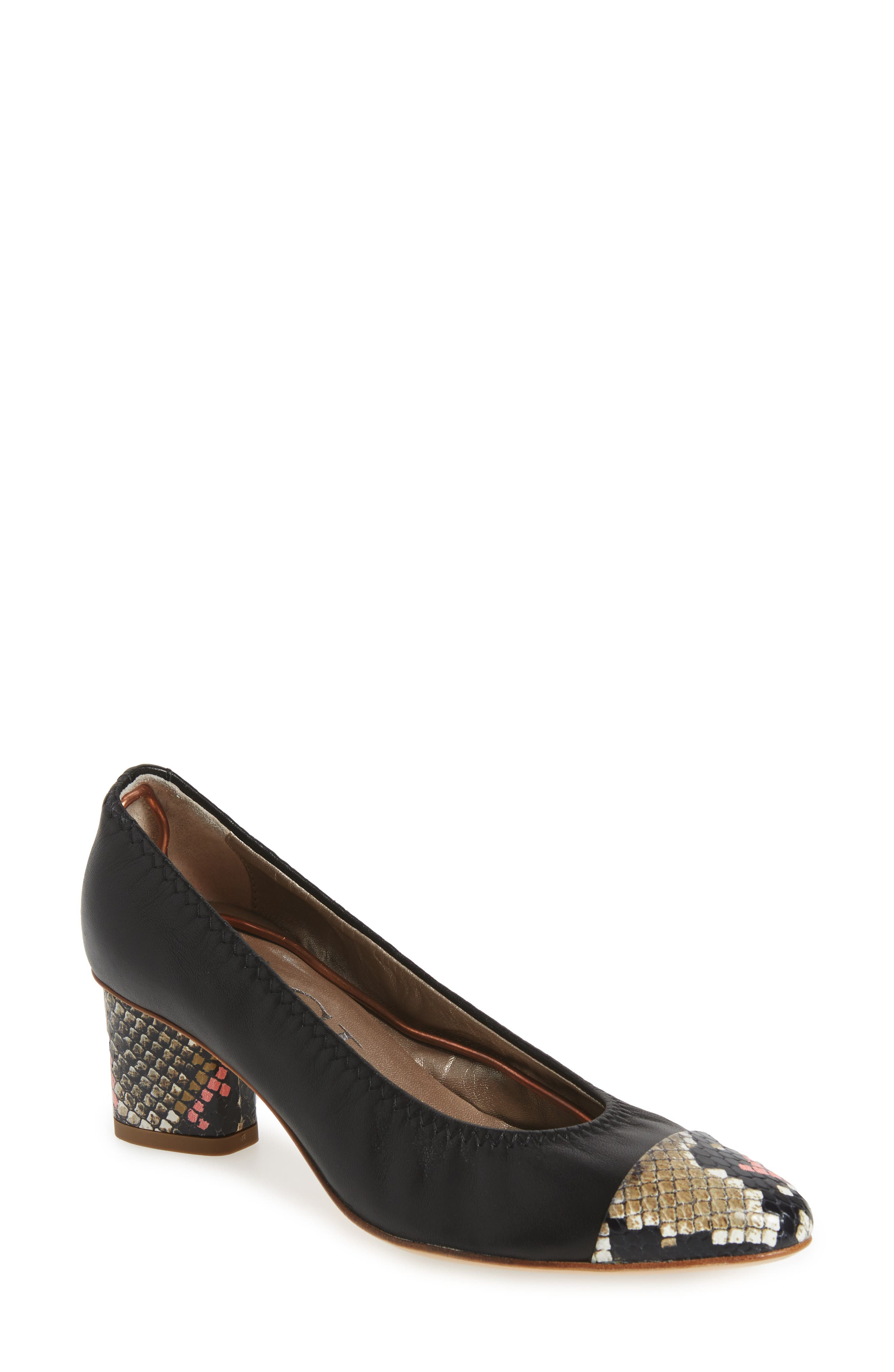 Colory Cap-Toe Pump,                             Main thumbnail 1, color,                             001