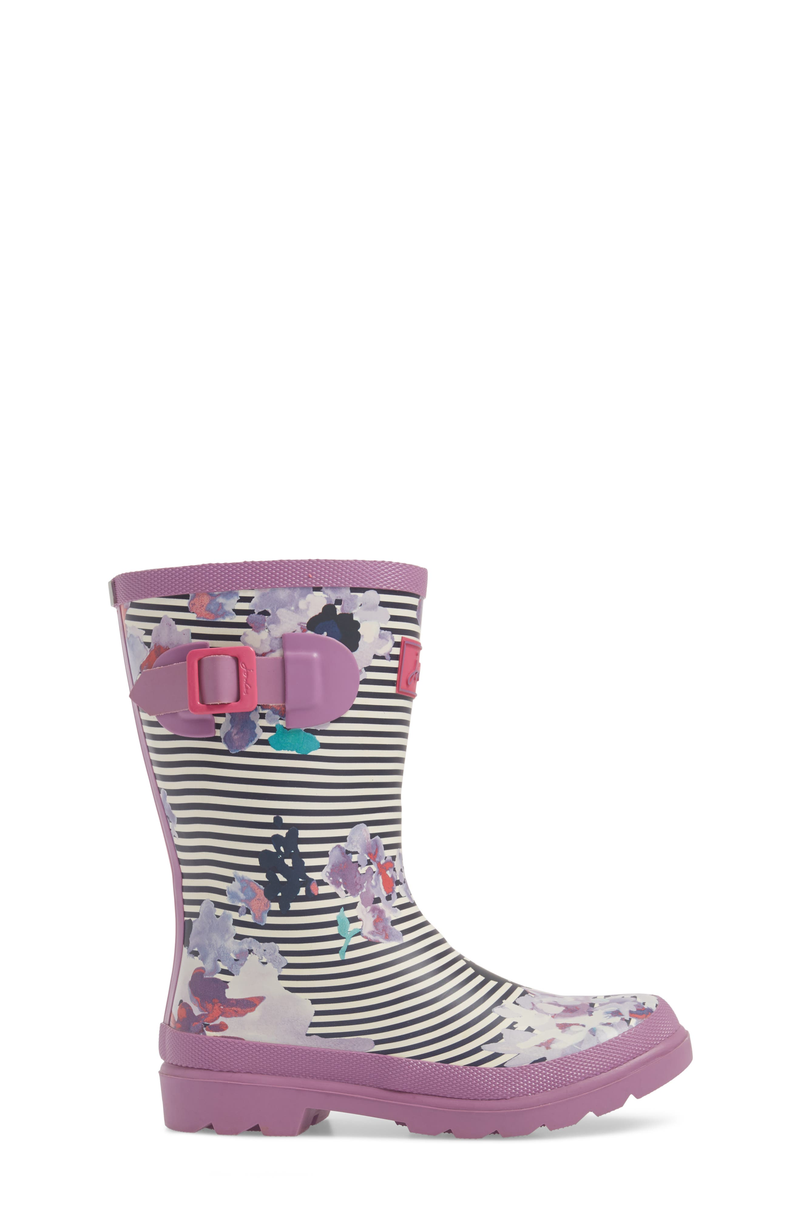 Mid Height Print Welly Rain Boot,                             Alternate thumbnail 3, color,                             VIOLET STRIPE FLORAL