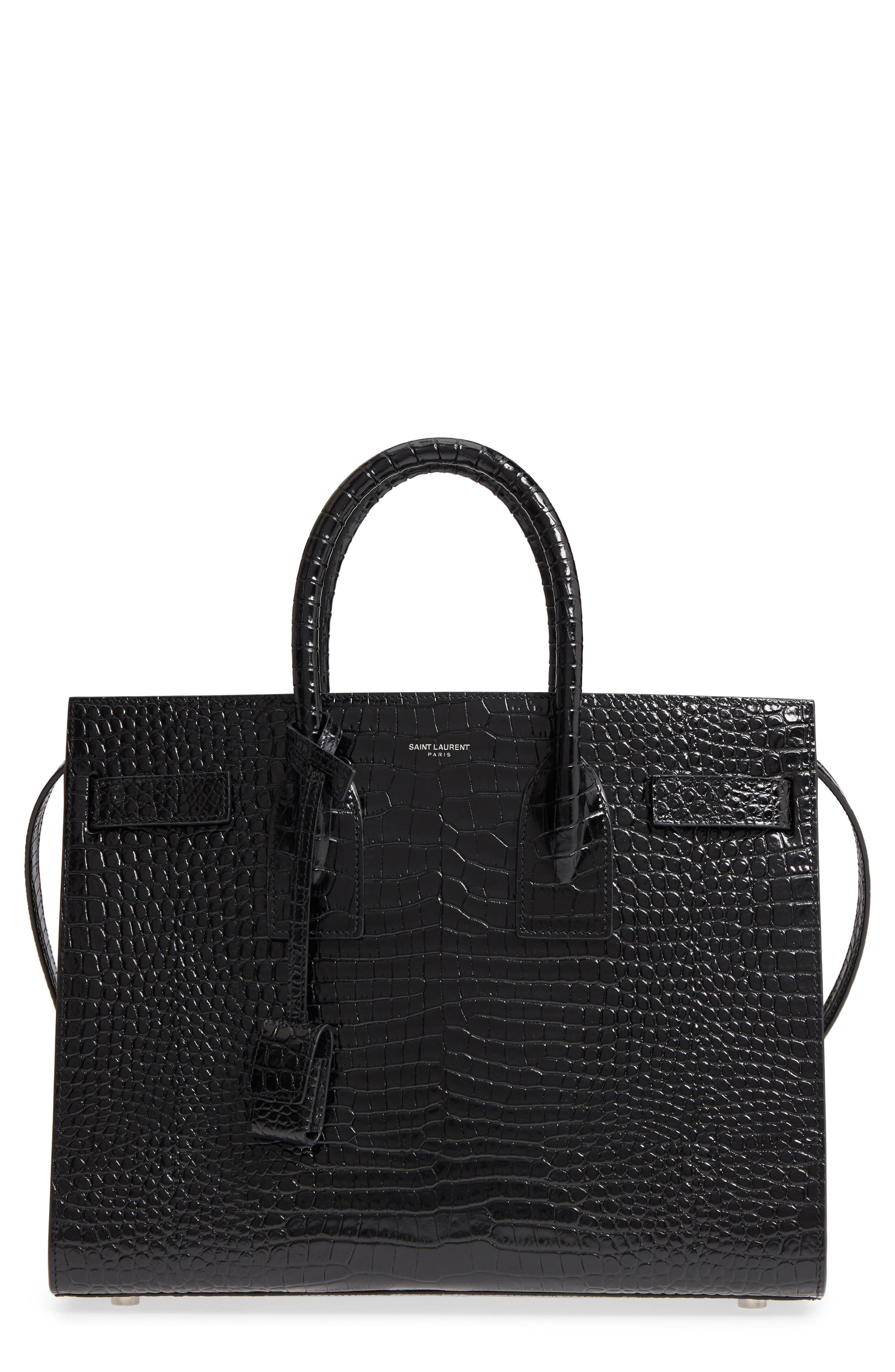 Small Sac de Jour Croc Embossed Calfskin Leather Tote,                         Main,                         color, NERO/ NERO