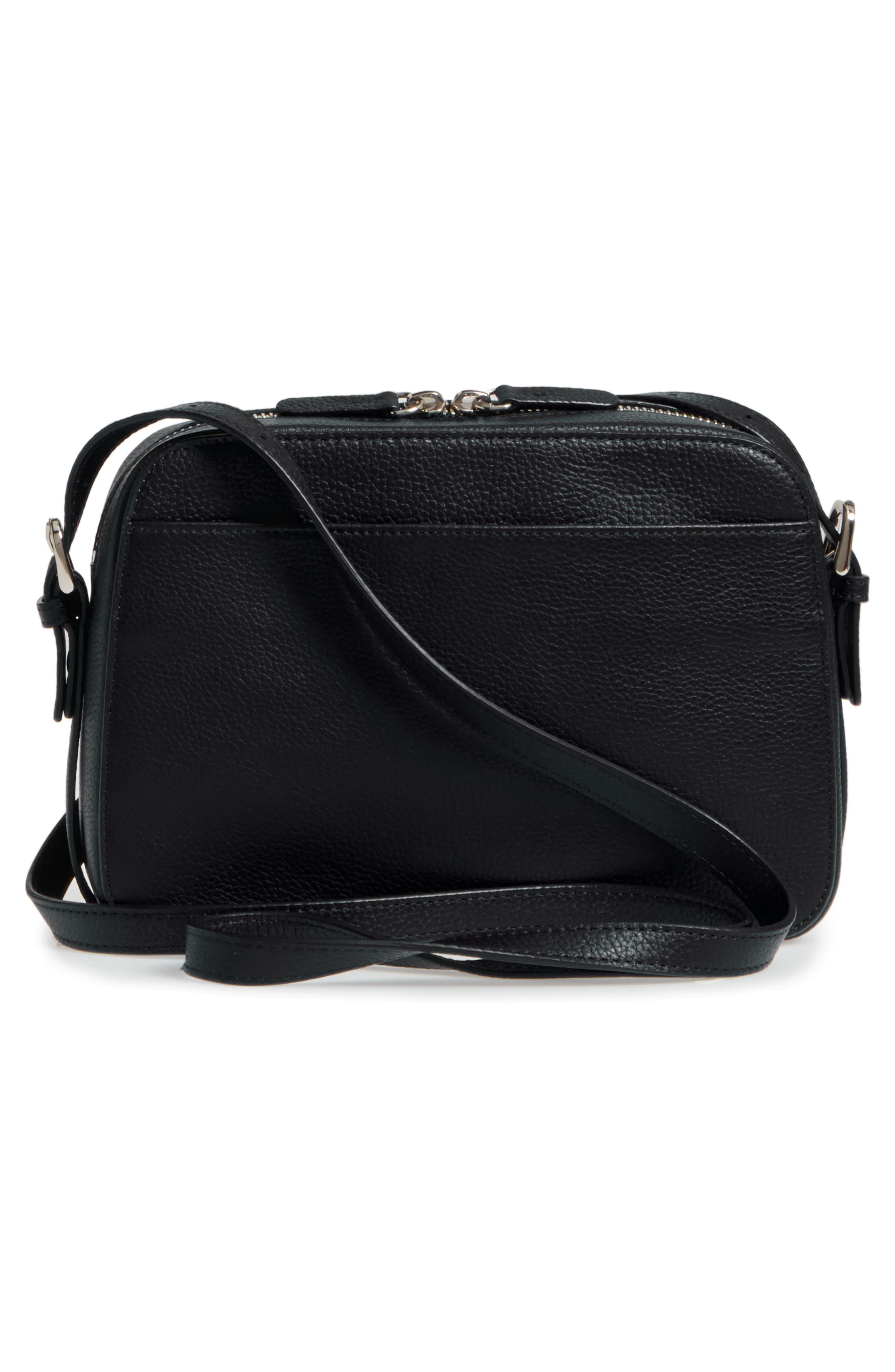 Brayden Leather Crossbody Camera Bag,                             Alternate thumbnail 3, color,                             001