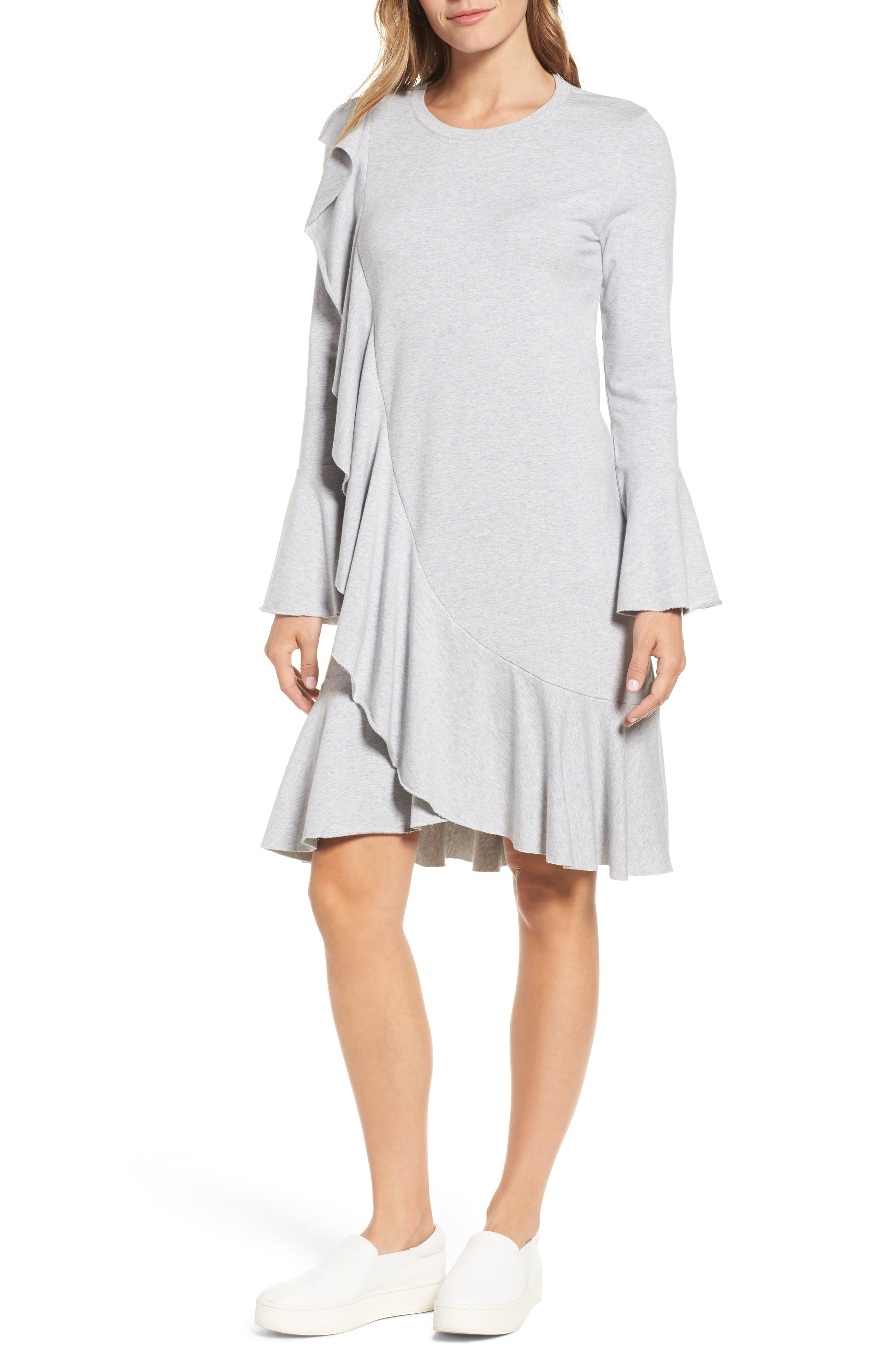 Ruffle Detail Knit Dress,                             Alternate thumbnail 14, color,