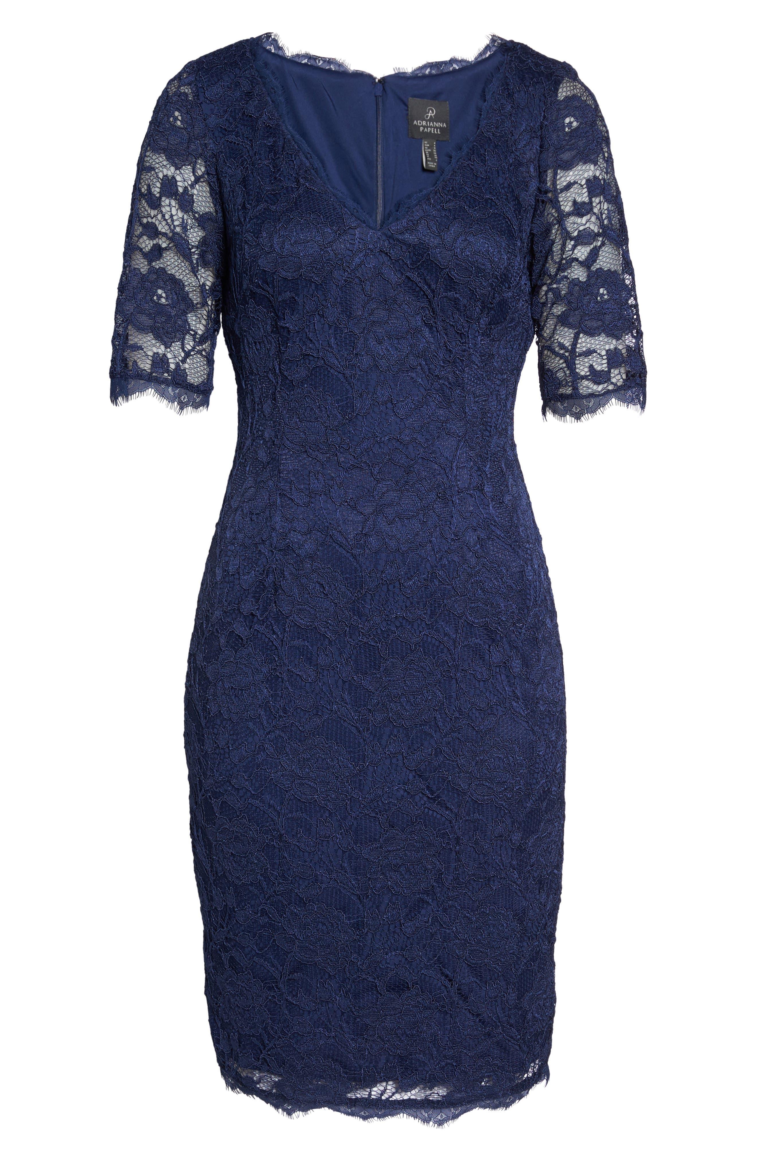 Rose Lace Sheath Dress,                             Alternate thumbnail 6, color,                             412