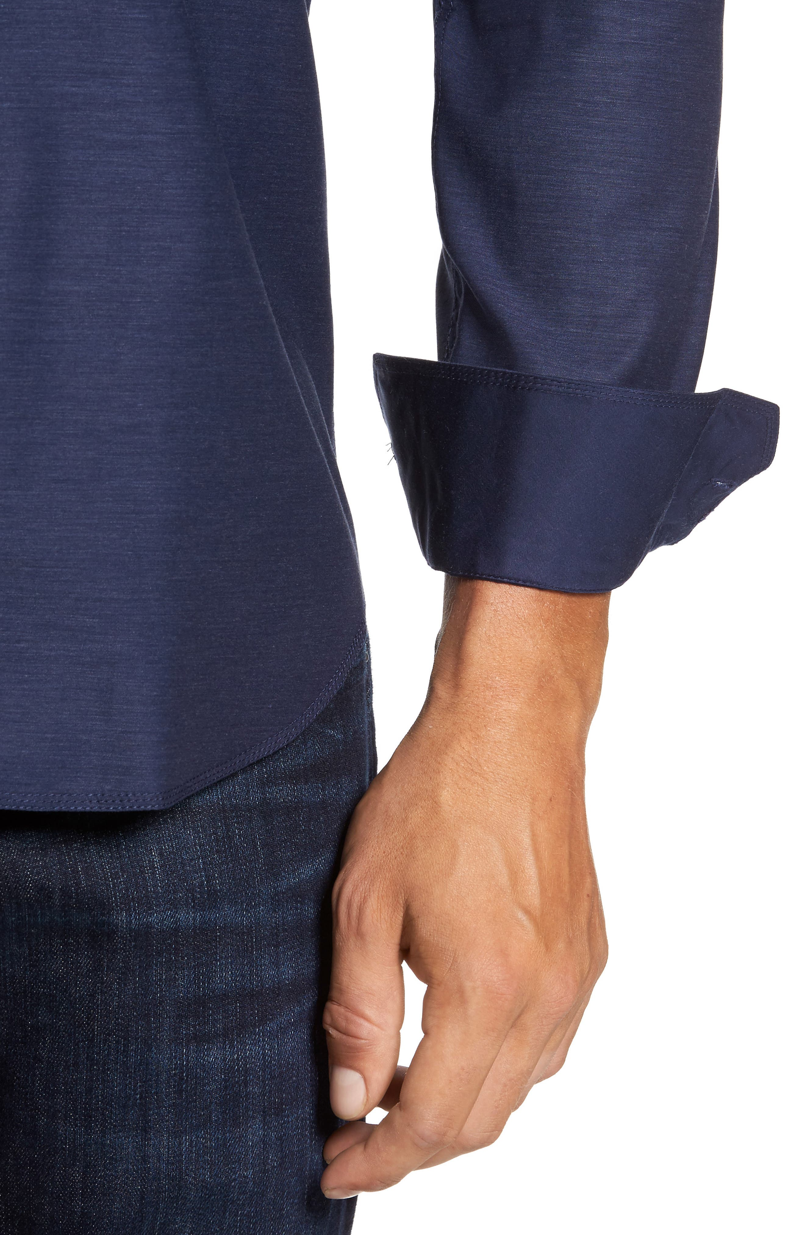 Trim Fit Heathered Sport Shirt,                             Alternate thumbnail 12, color,