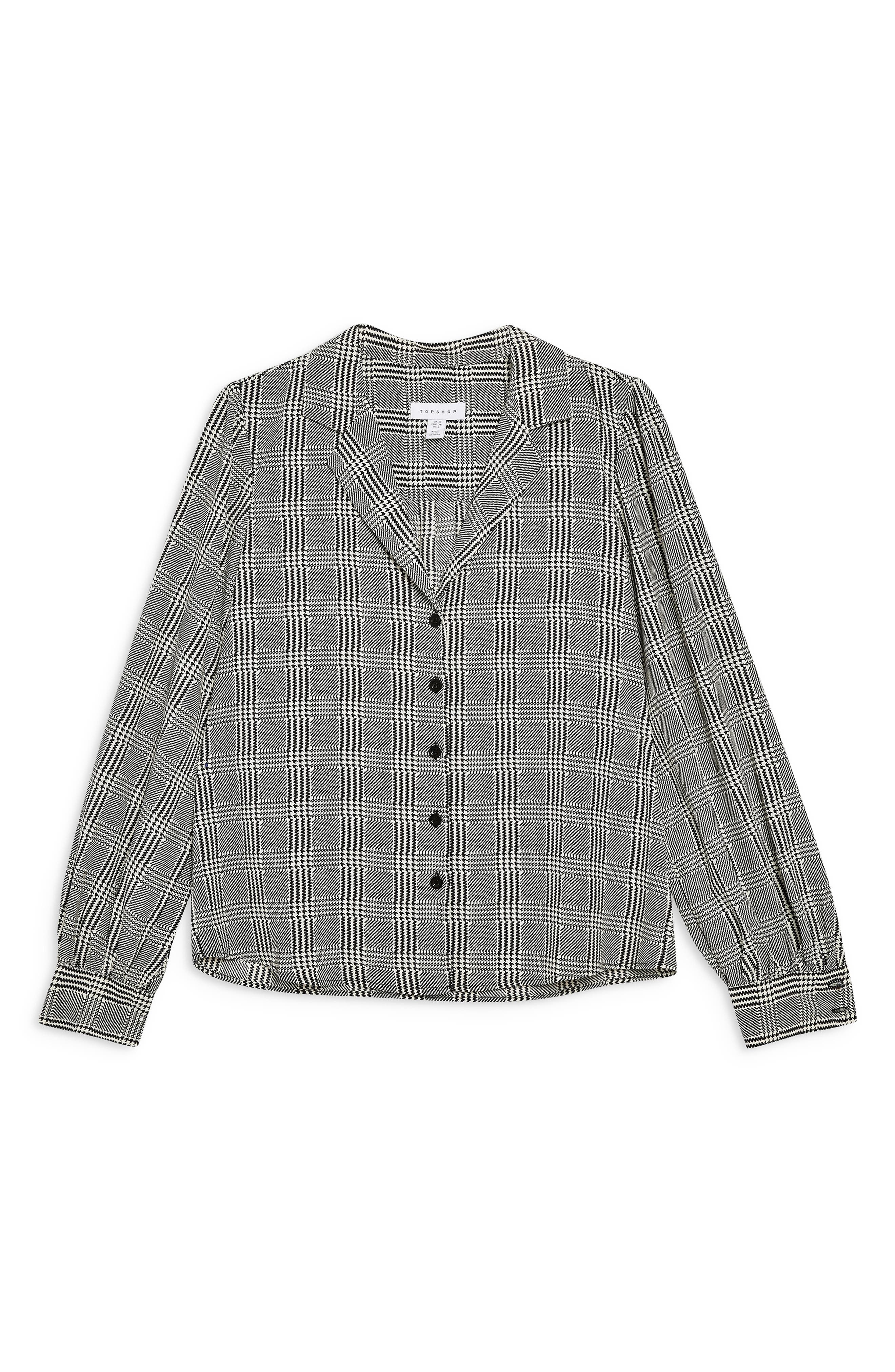 TOPSHOP,                             Houndstooth Shirt,                             Alternate thumbnail 4, color,                             BLACK MULTI