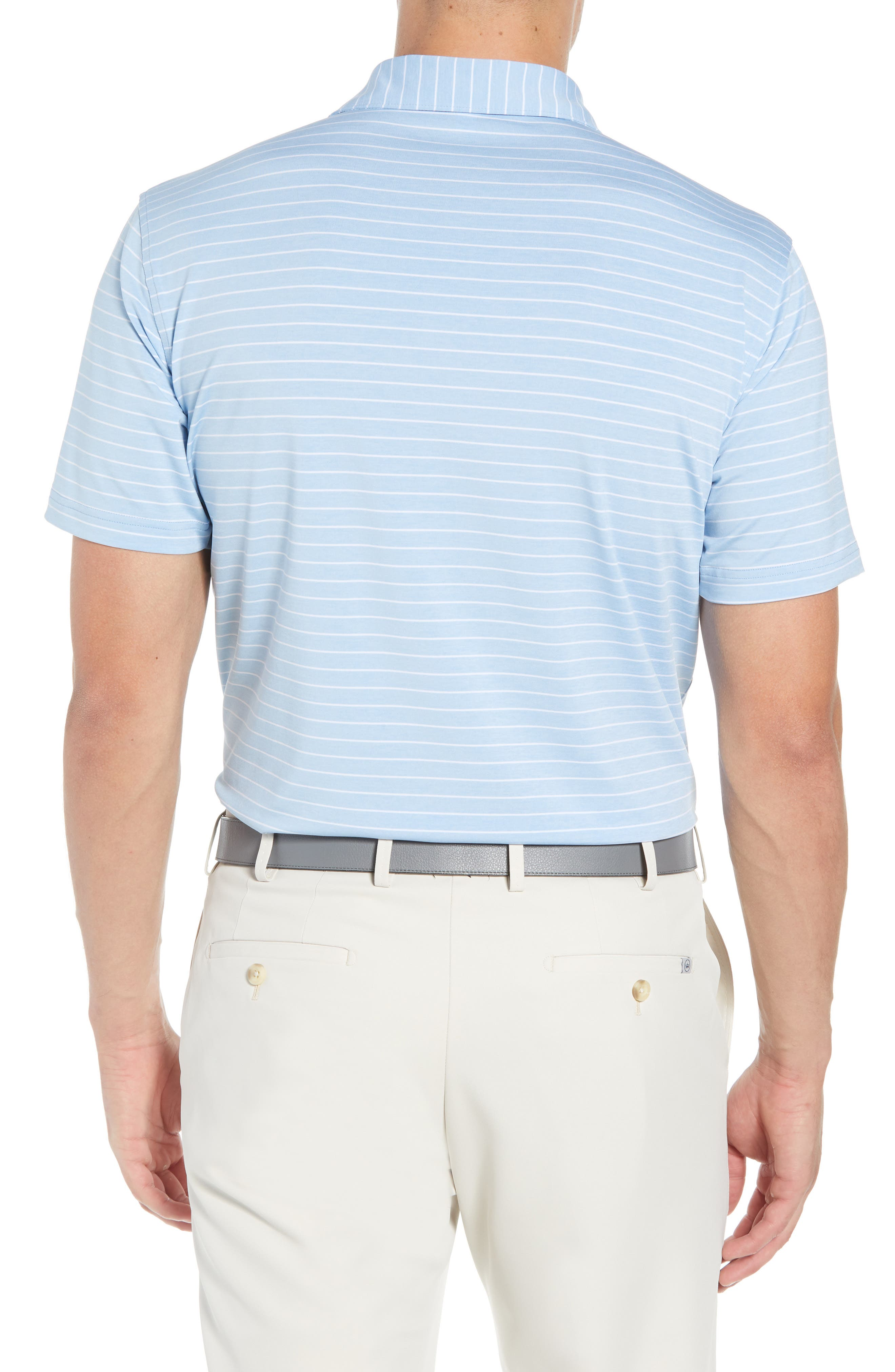 Halifax Stripe Stretch Jersey Polo,                             Alternate thumbnail 2, color,                             COTTAGE BLUE