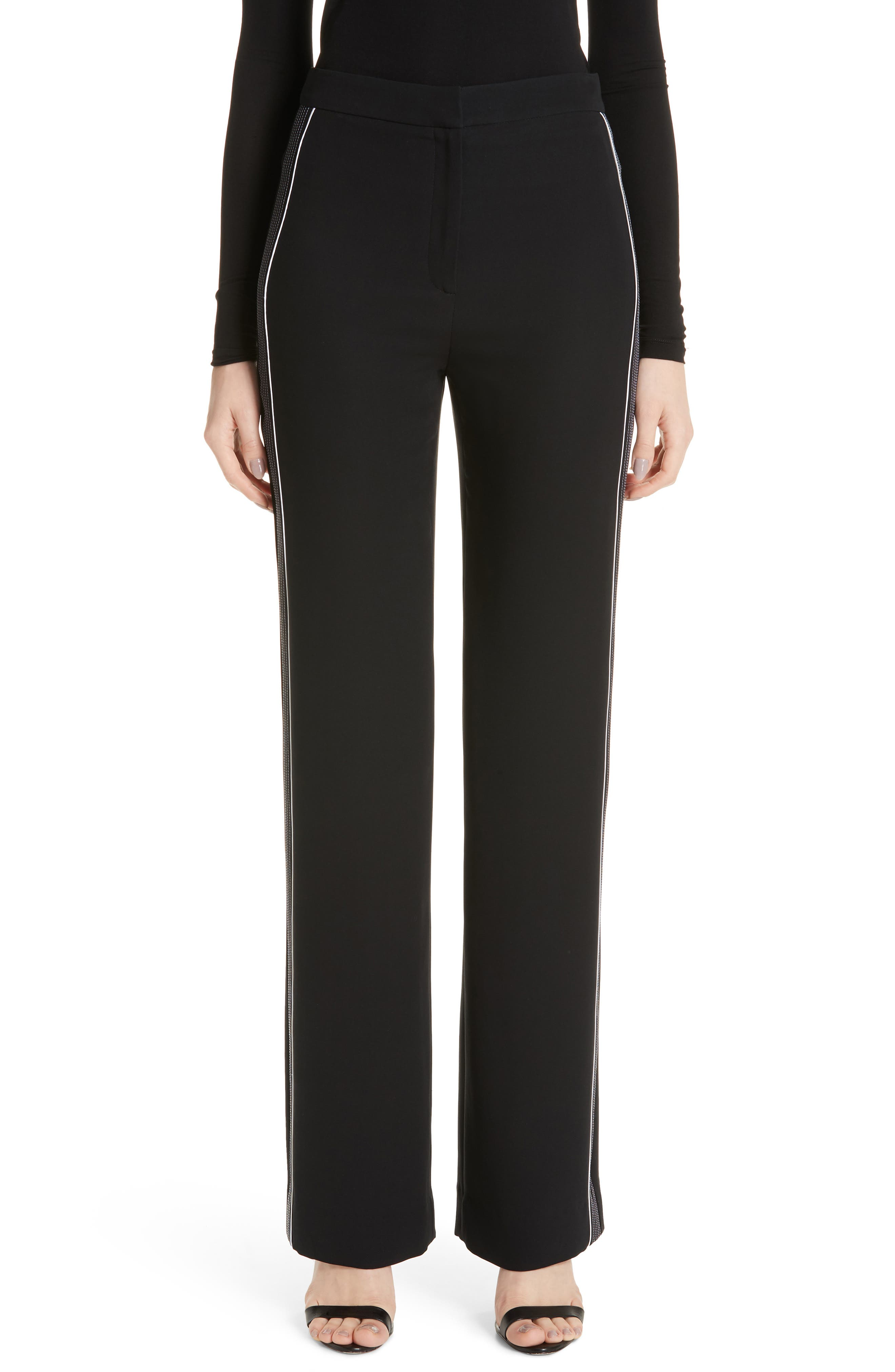 Solid Heavy Georgette Pants,                             Main thumbnail 1, color,                             CAVIAR/ WHITE