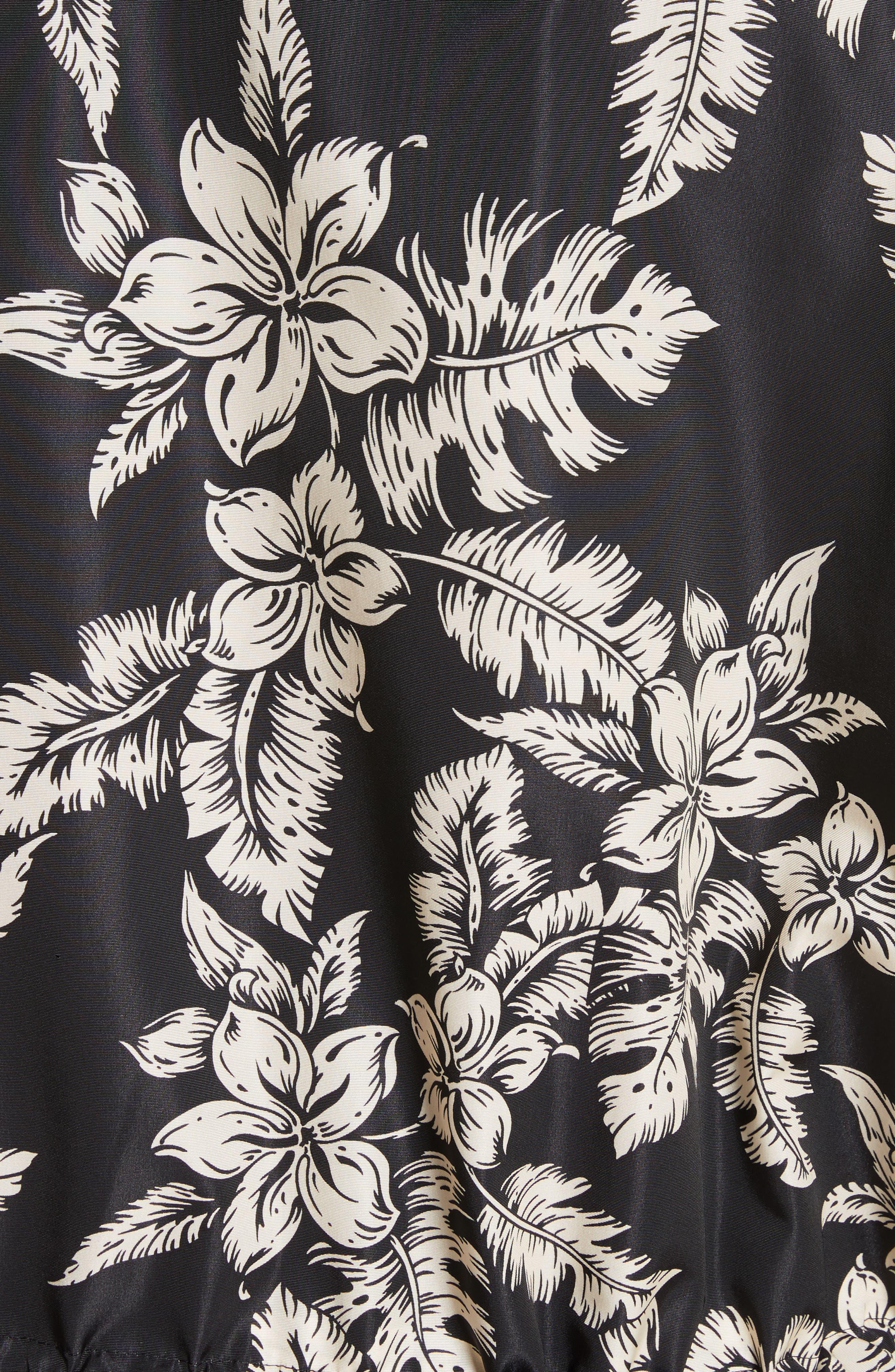 Water Resistant Floral Print Hooded Jacket,                             Alternate thumbnail 6, color,                             001