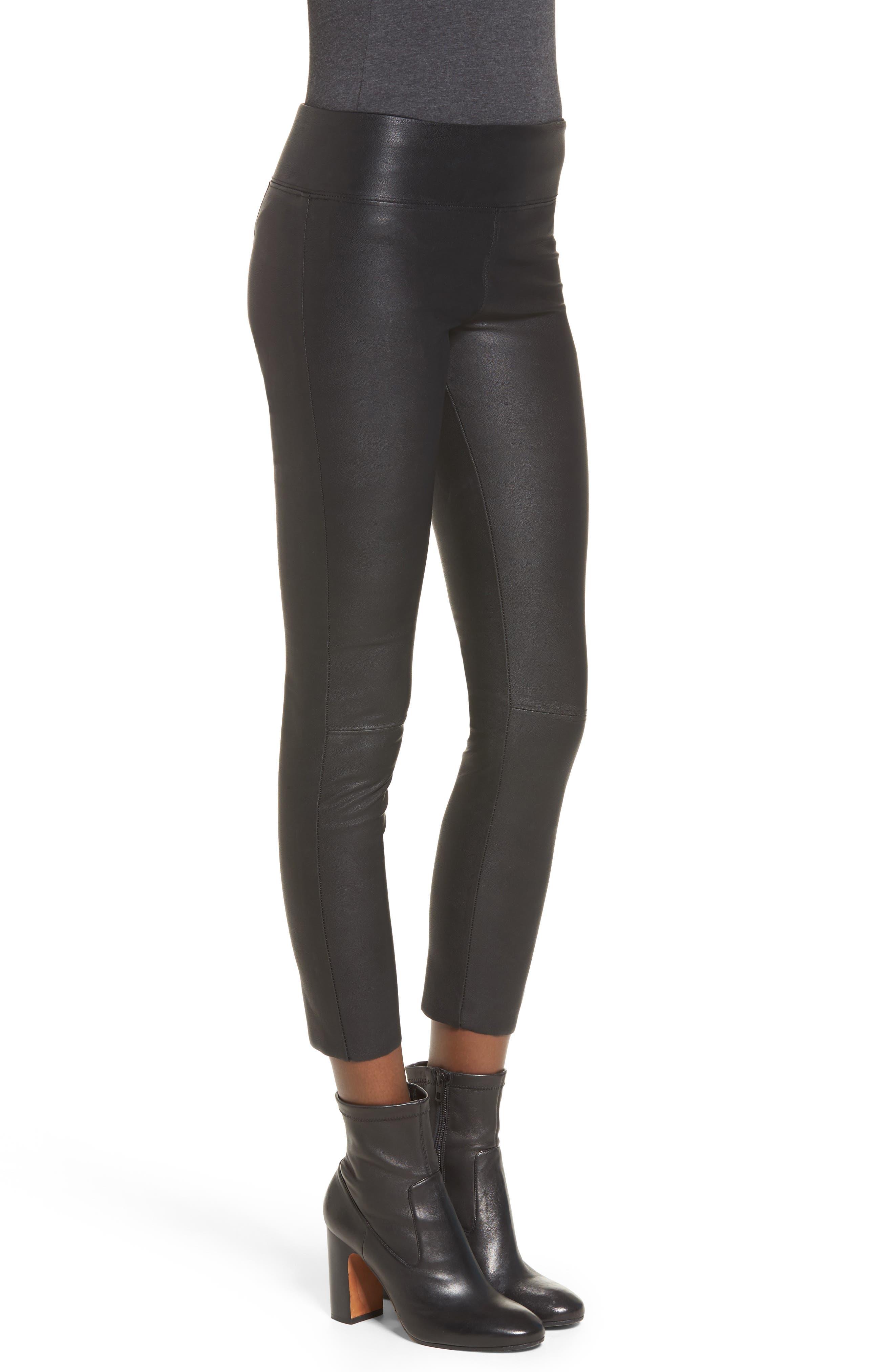 Gemma High Waist Faux Leather Leggings,                             Alternate thumbnail 3, color,                             BLACK