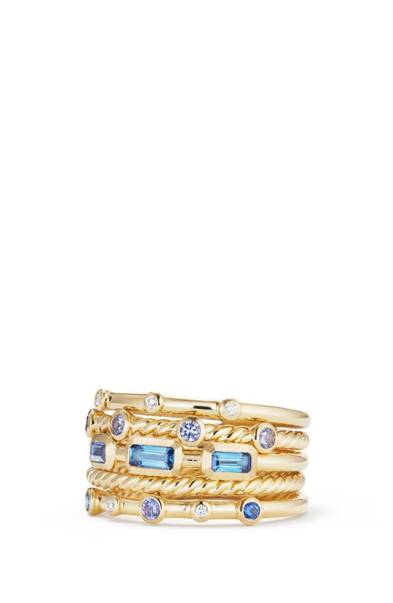 DAVID YURMAN Novella Stack Ring with Diamonds, Main, color, GOLD/ DIAMOND/ BLUE SAPPHIRE