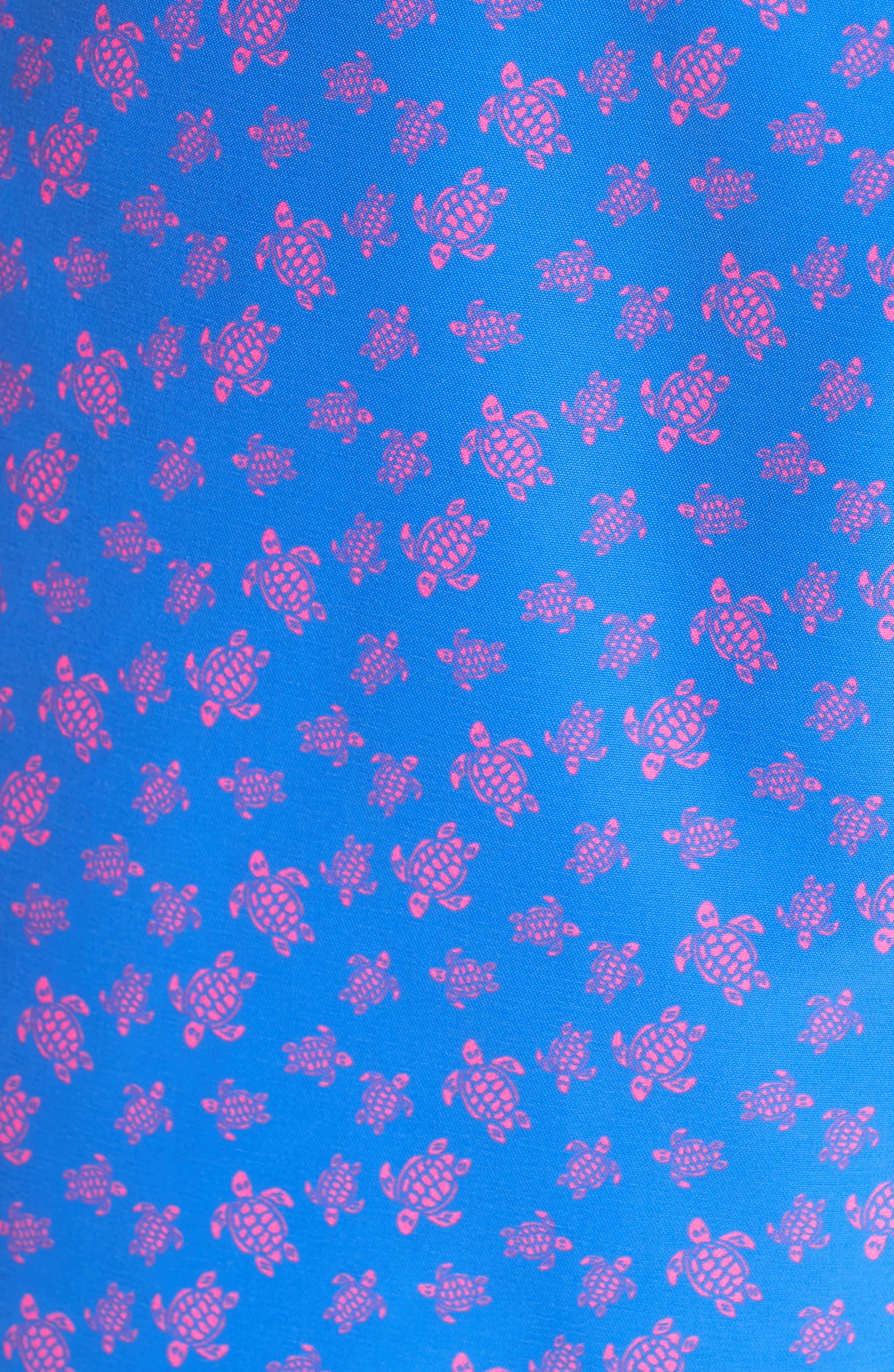VILEBREQUIN,                             Micro Ronde Turtle Print Swim Trunks,                             Alternate thumbnail 5, color,                             BLUE
