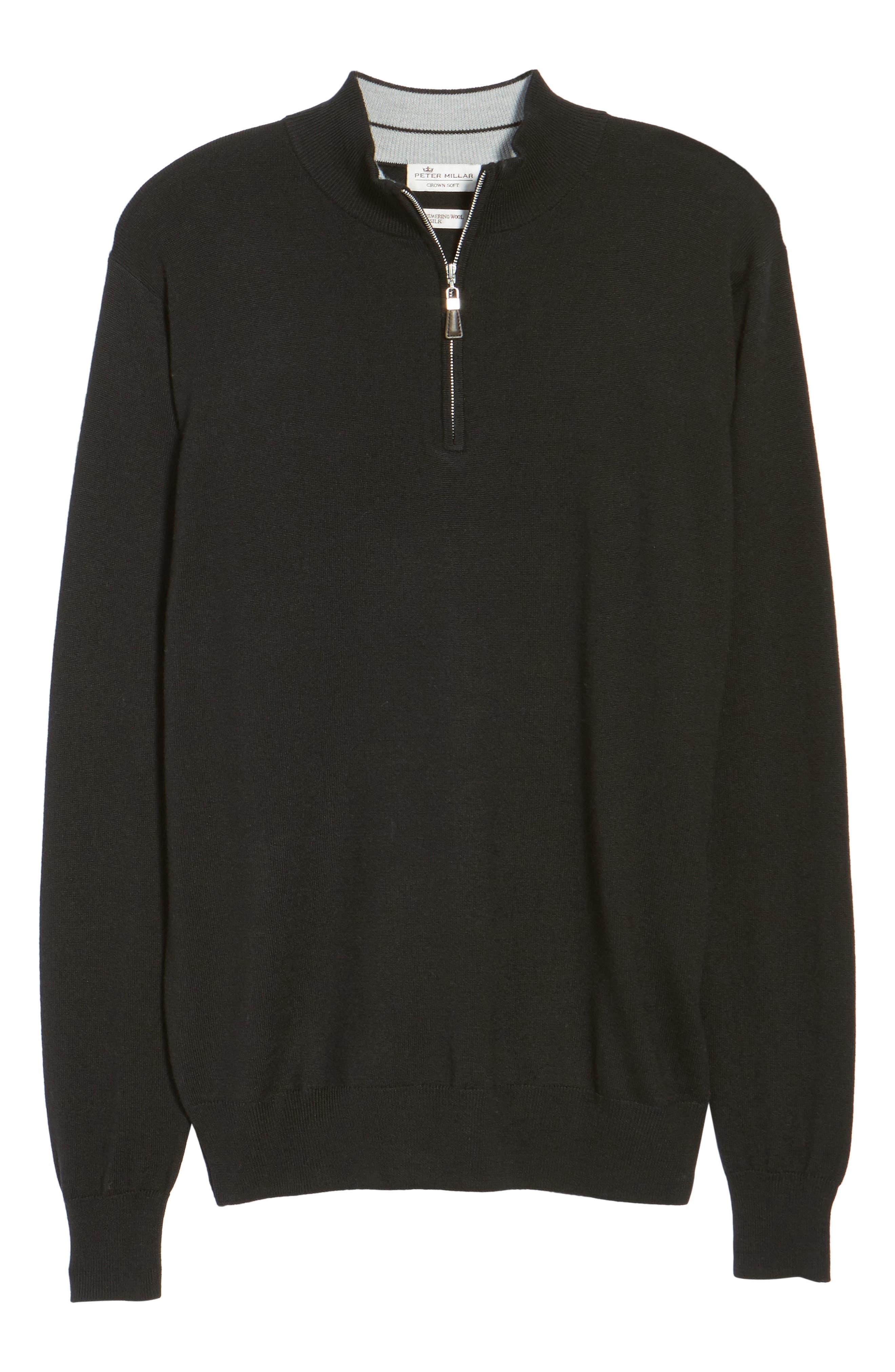 Crown Soft Merino Blend Quarter Zip Sweater,                             Alternate thumbnail 6, color,                             001