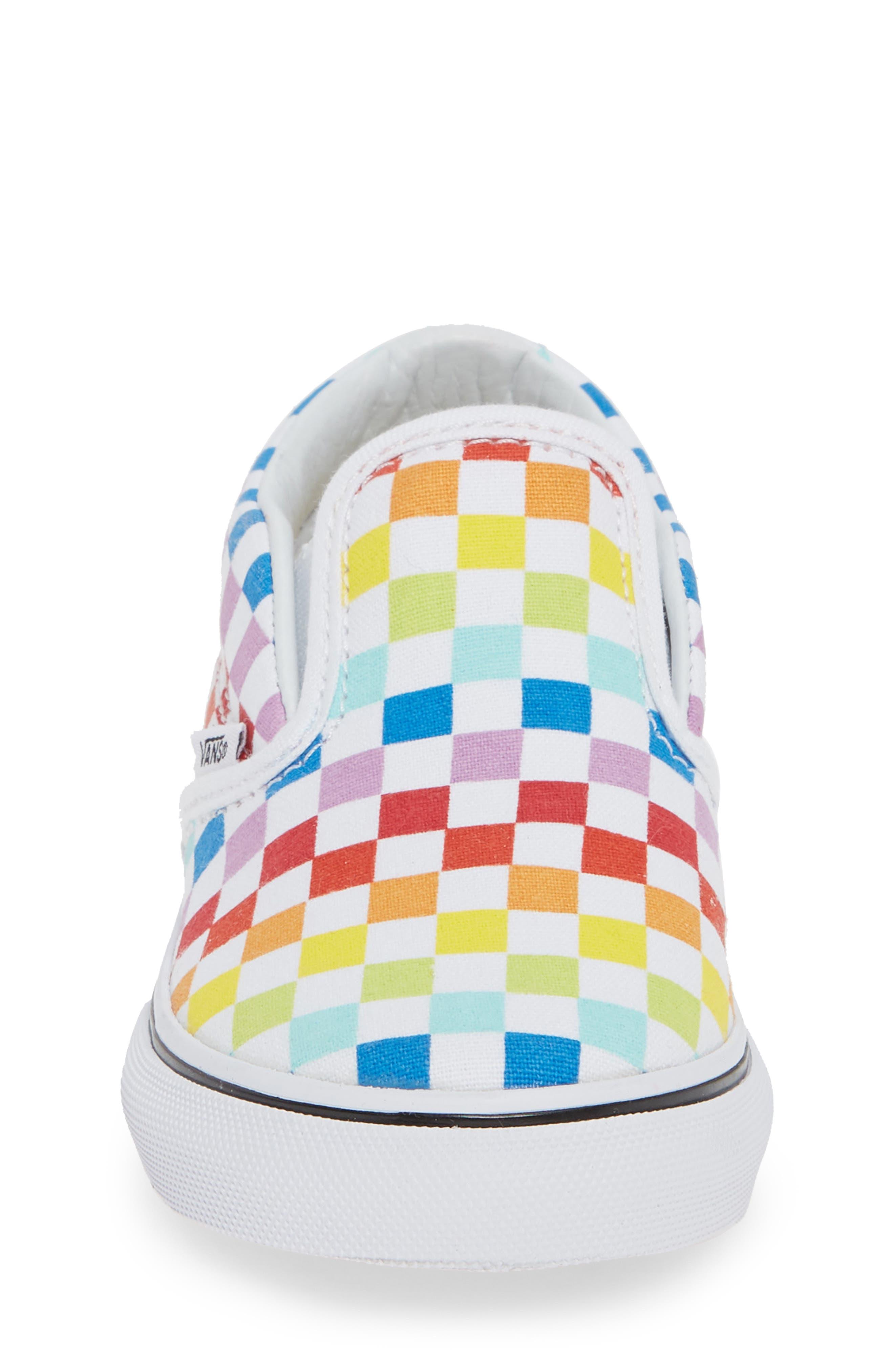 'Classic - Checker' Slip-On,                             Alternate thumbnail 4, color,                             RAINBOW/ WHITE