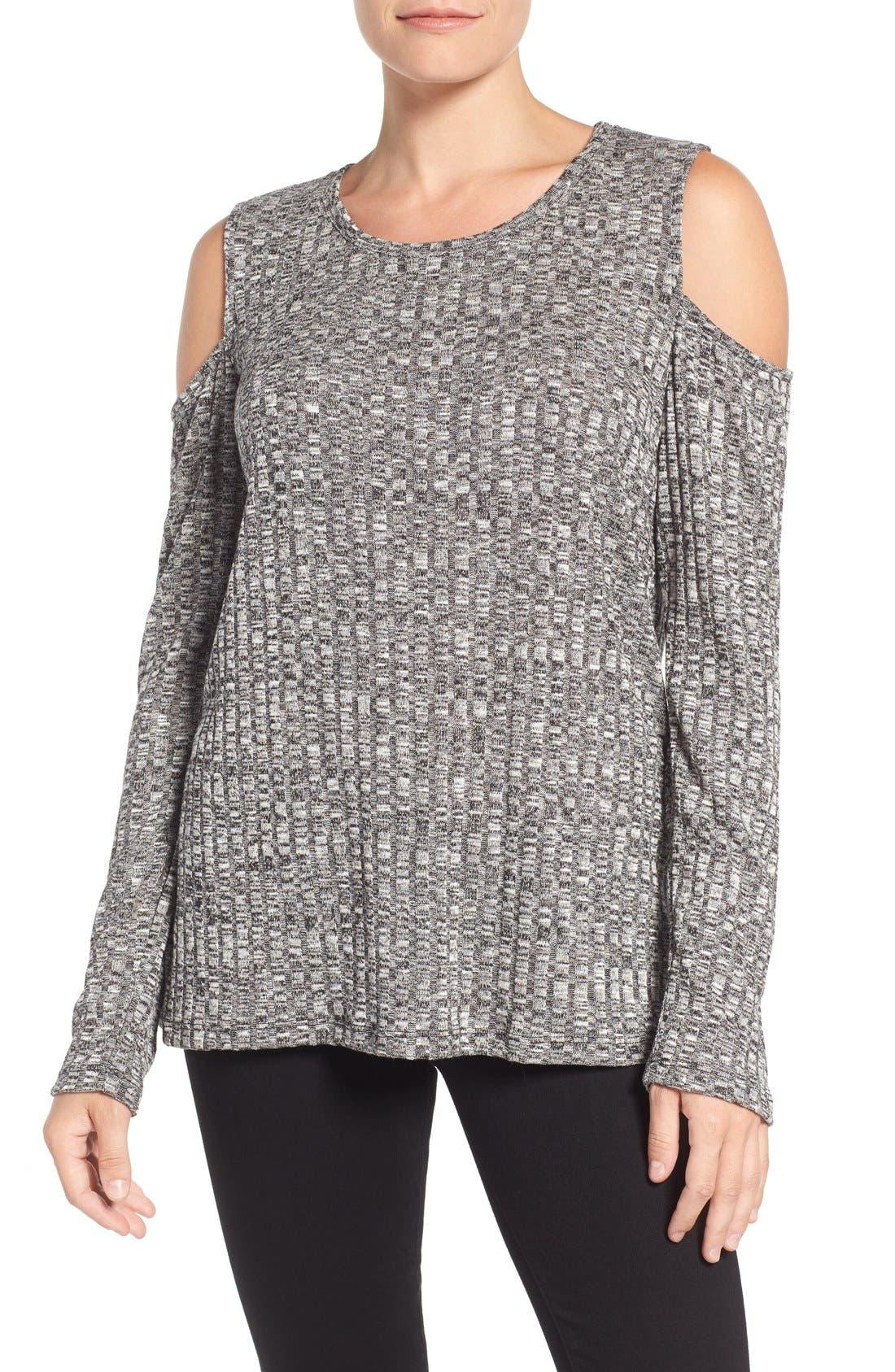 BOBEAU,                             Cold Shoulder Ribbed Sweater,                             Main thumbnail 1, color,                             014