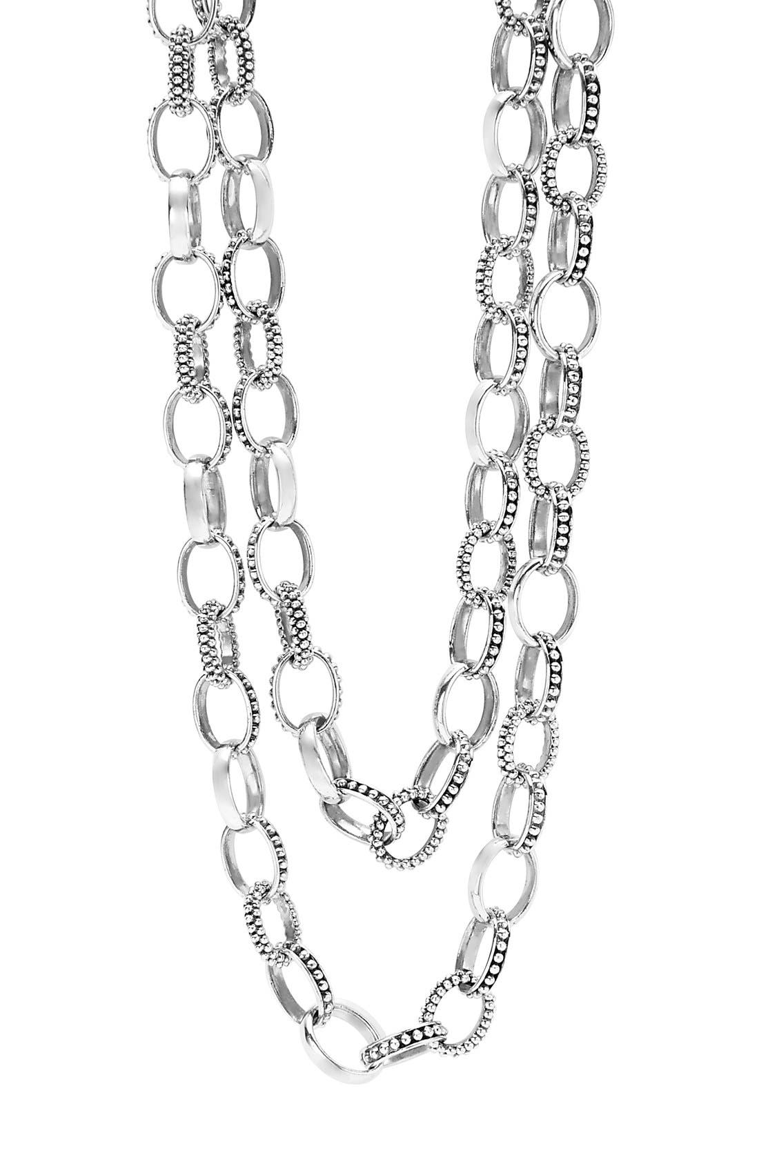 'Link' Caviar Chain Necklace,                             Alternate thumbnail 4, color,                             SILVER