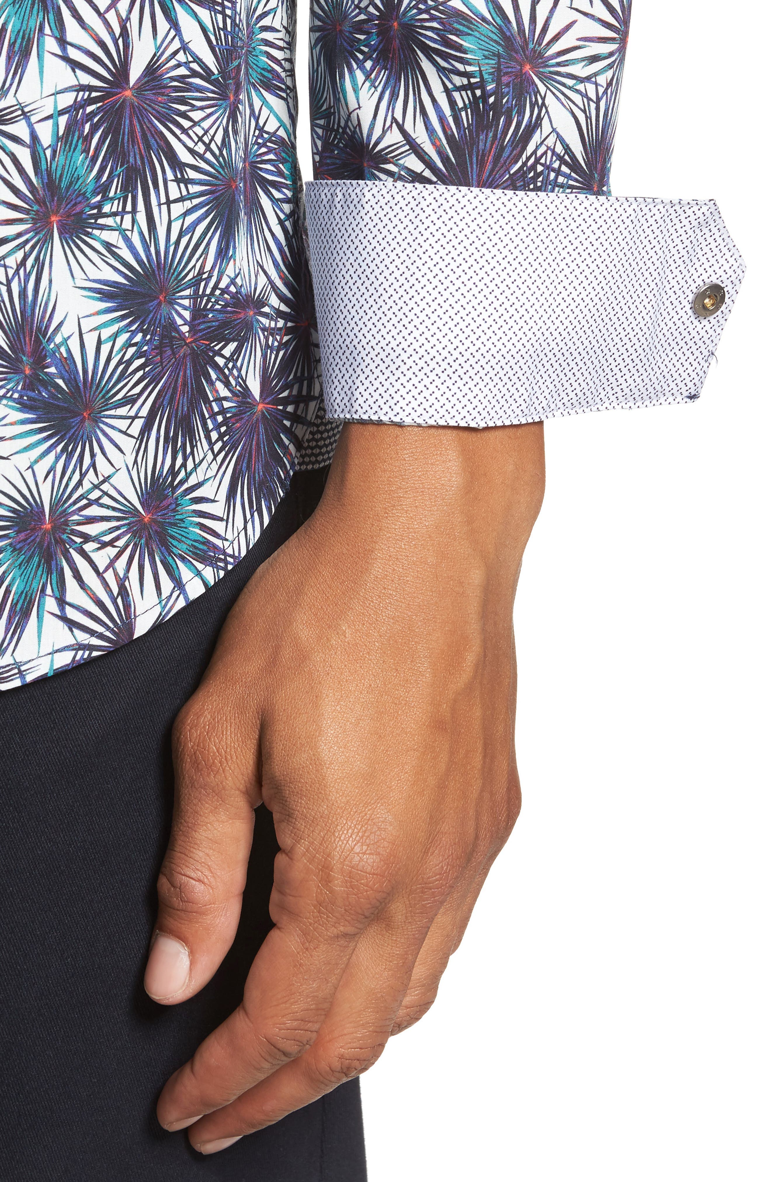 Modern Slim Fit Palm Print Sport Shirt,                             Alternate thumbnail 4, color,                             110
