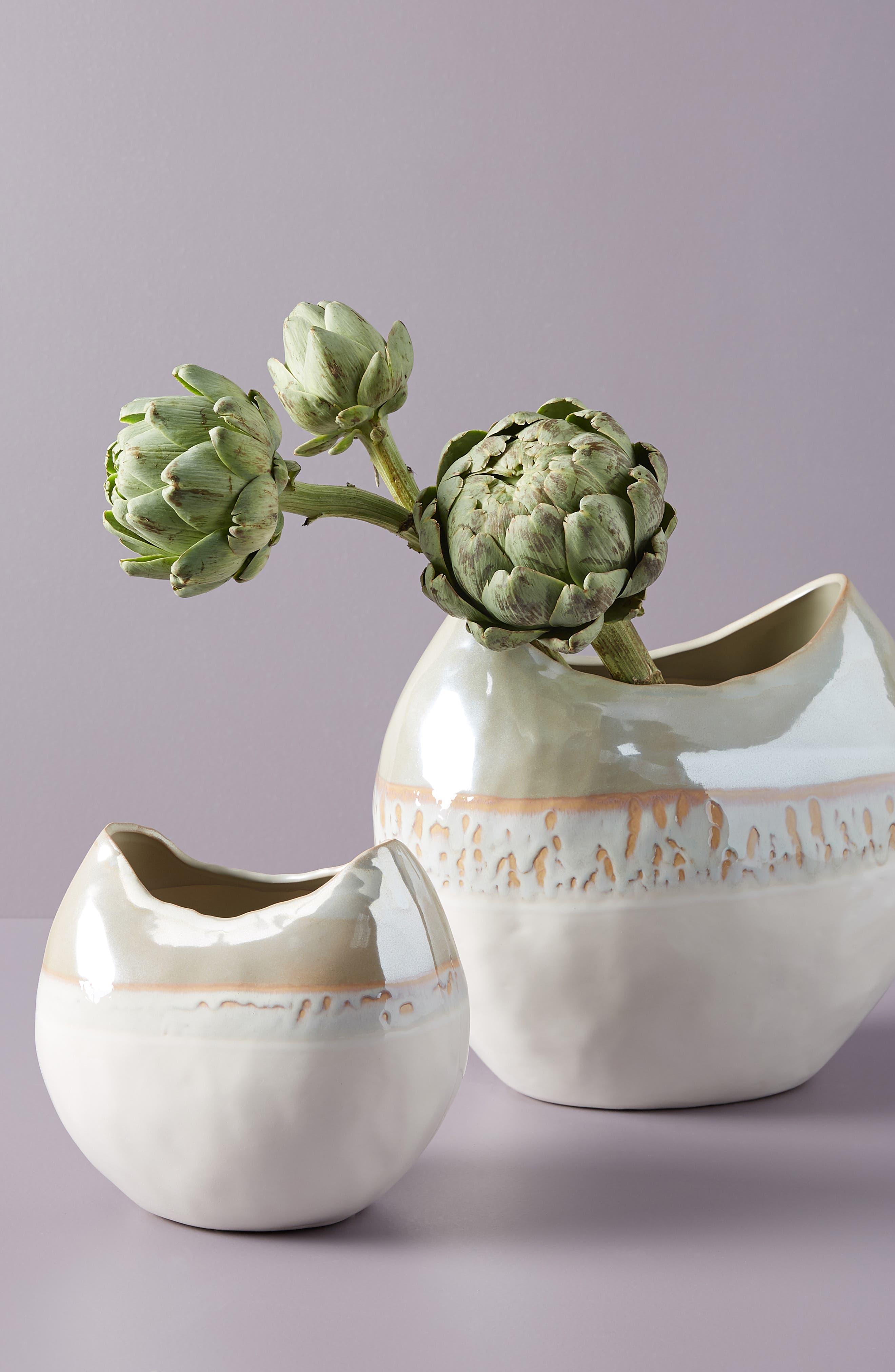 Crescent Moon Vase,                             Main thumbnail 1, color,                             WHITE LUSTER