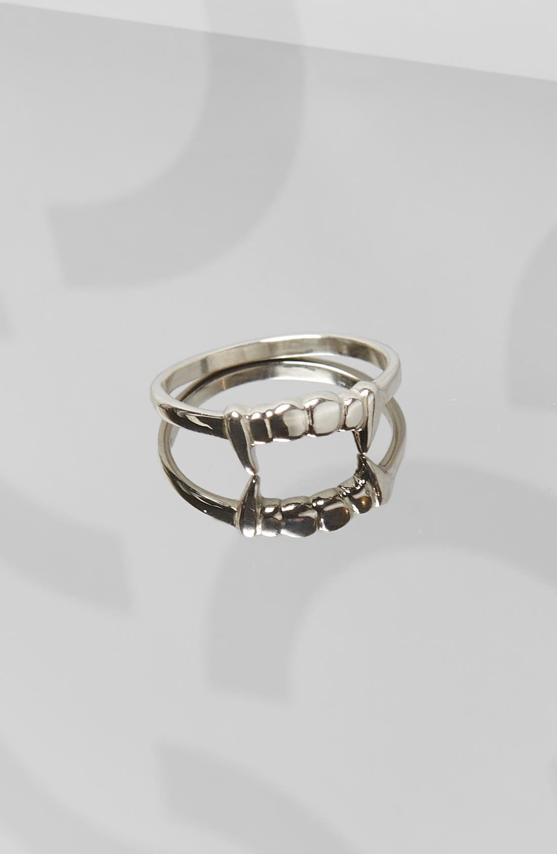 Fang Sterling Silver Stacker Ring,                             Alternate thumbnail 3, color,                             SILVER