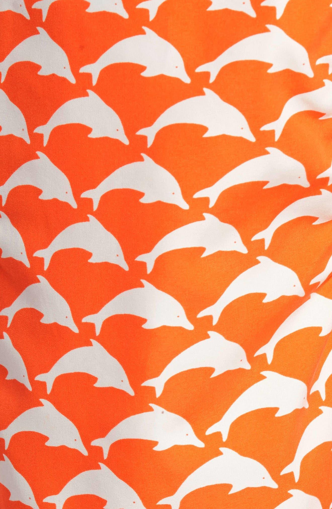 Dolphin Print Swim Trunks,                             Alternate thumbnail 5, color,                             820