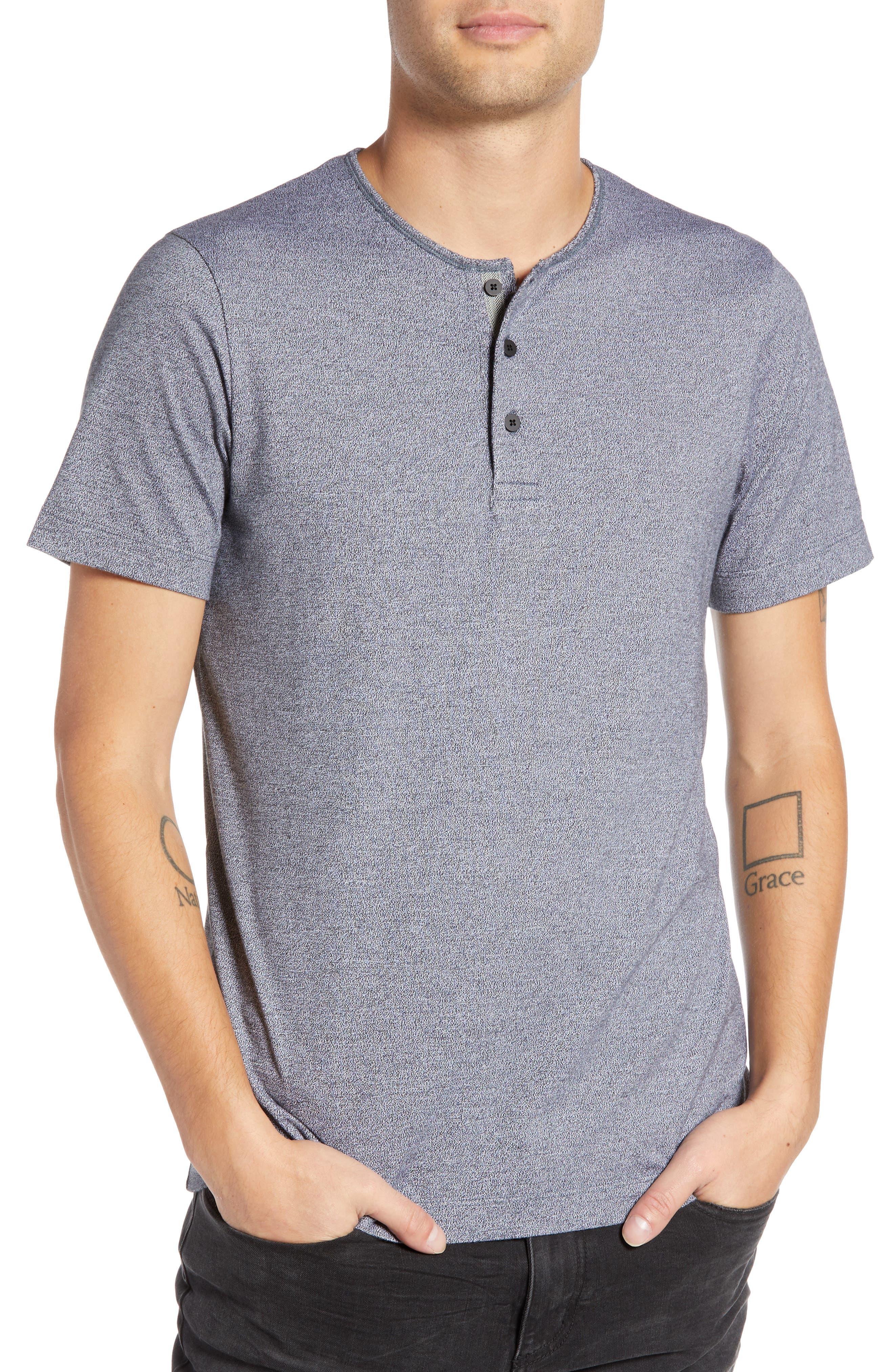Marled Henley T-Shirt,                             Main thumbnail 1, color,                             MEDIUM BLACK
