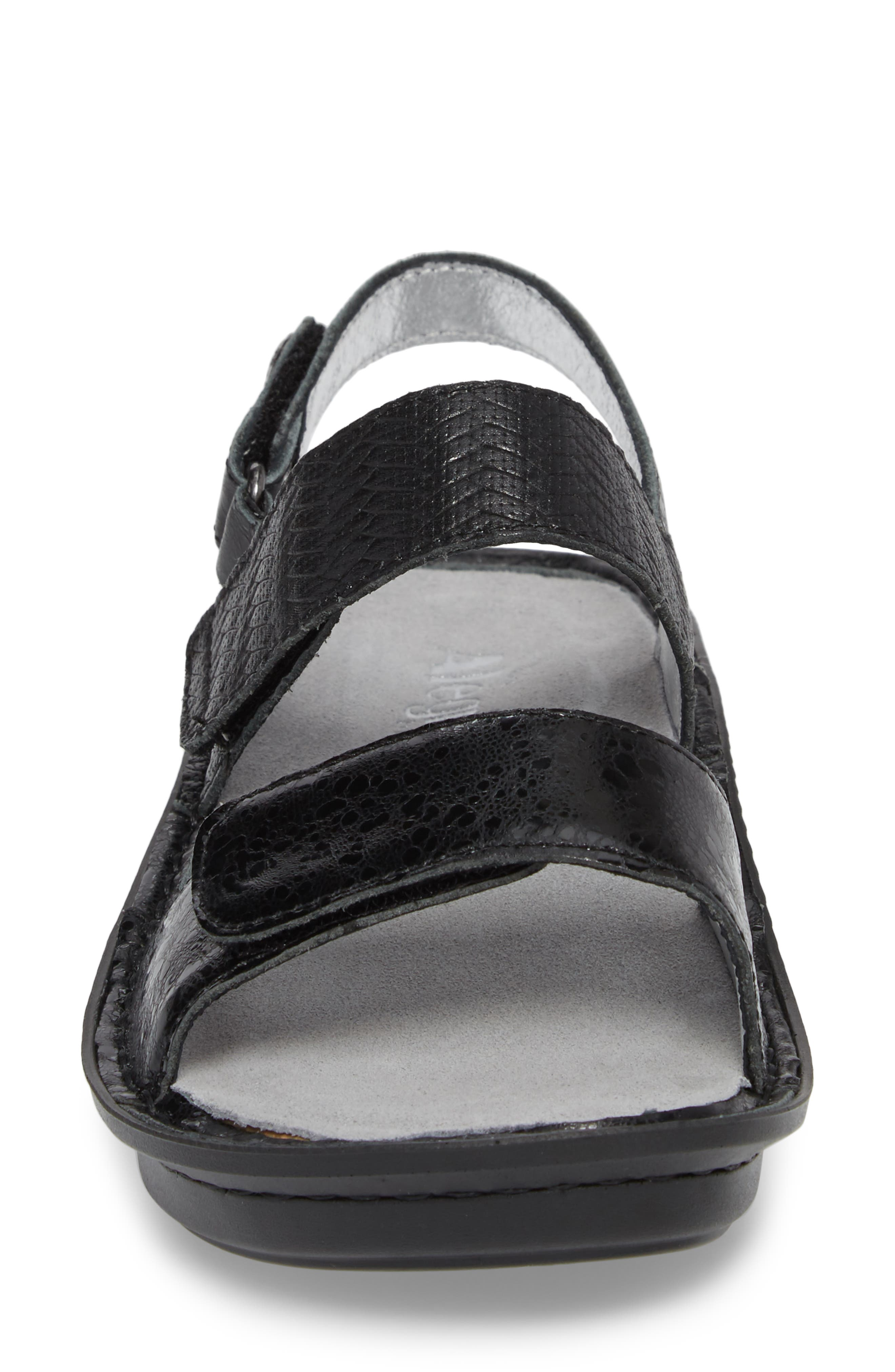 'Verona' Sandal,                             Alternate thumbnail 4, color,                             BRAIDED BLACK LEATHER