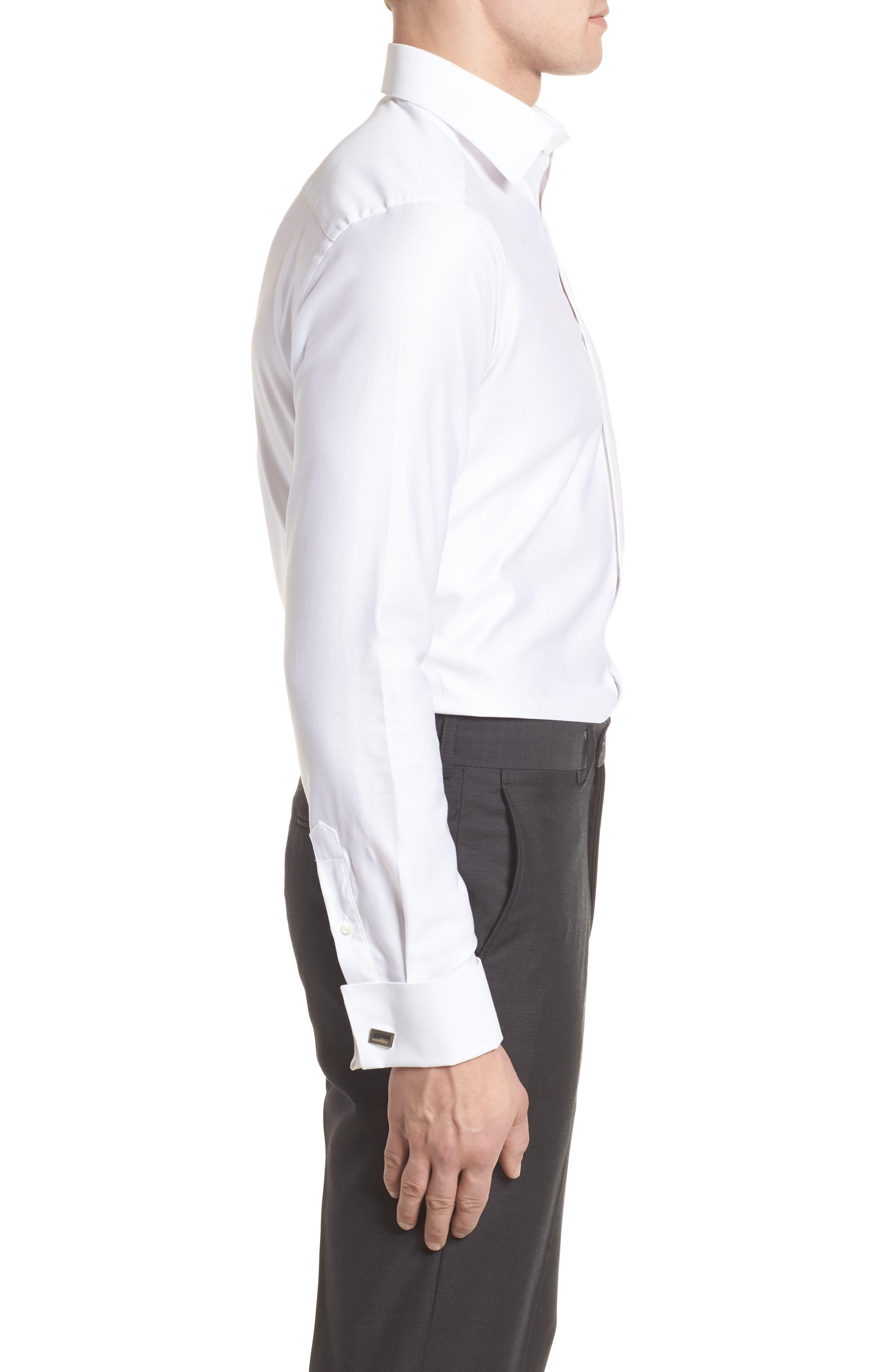 Slim Fit Tuxedo Shirt,                             Alternate thumbnail 4, color,                             WHITE