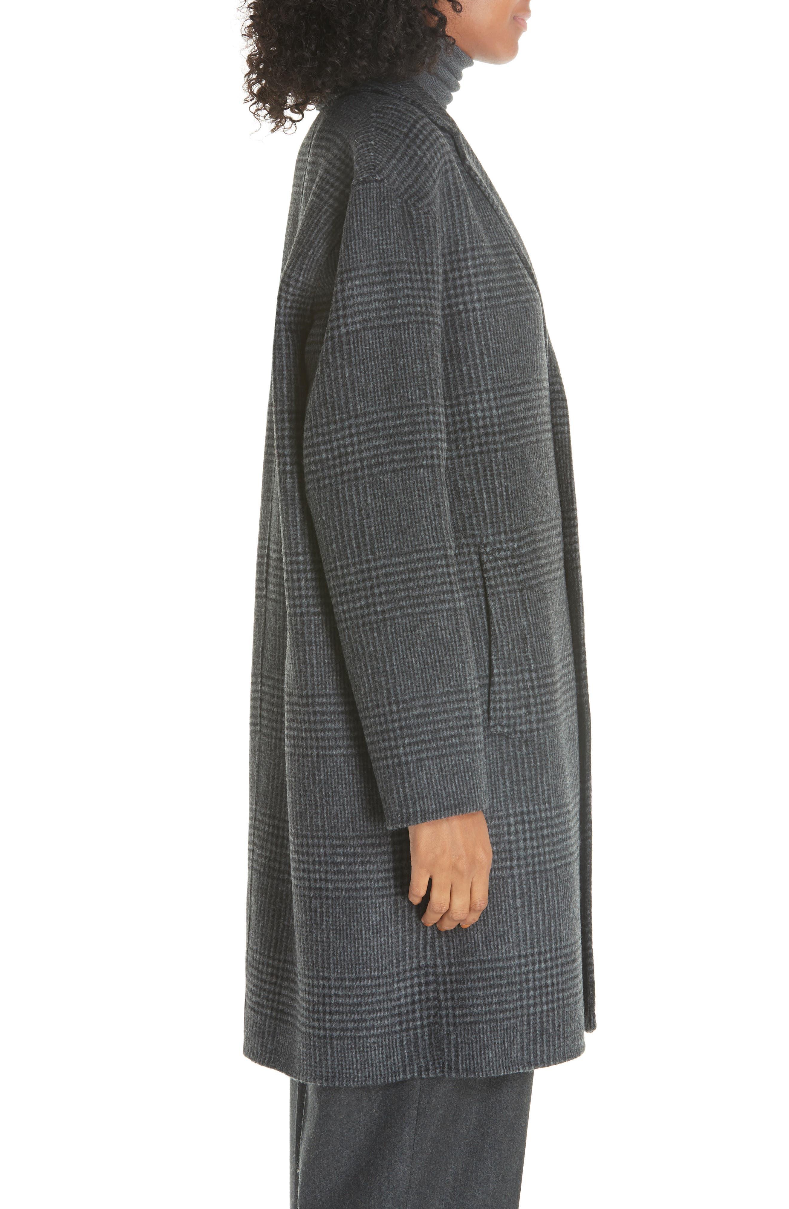Plaid Wool Blend Coat,                             Alternate thumbnail 3, color,                             CHARCOAL GLEN PLAID