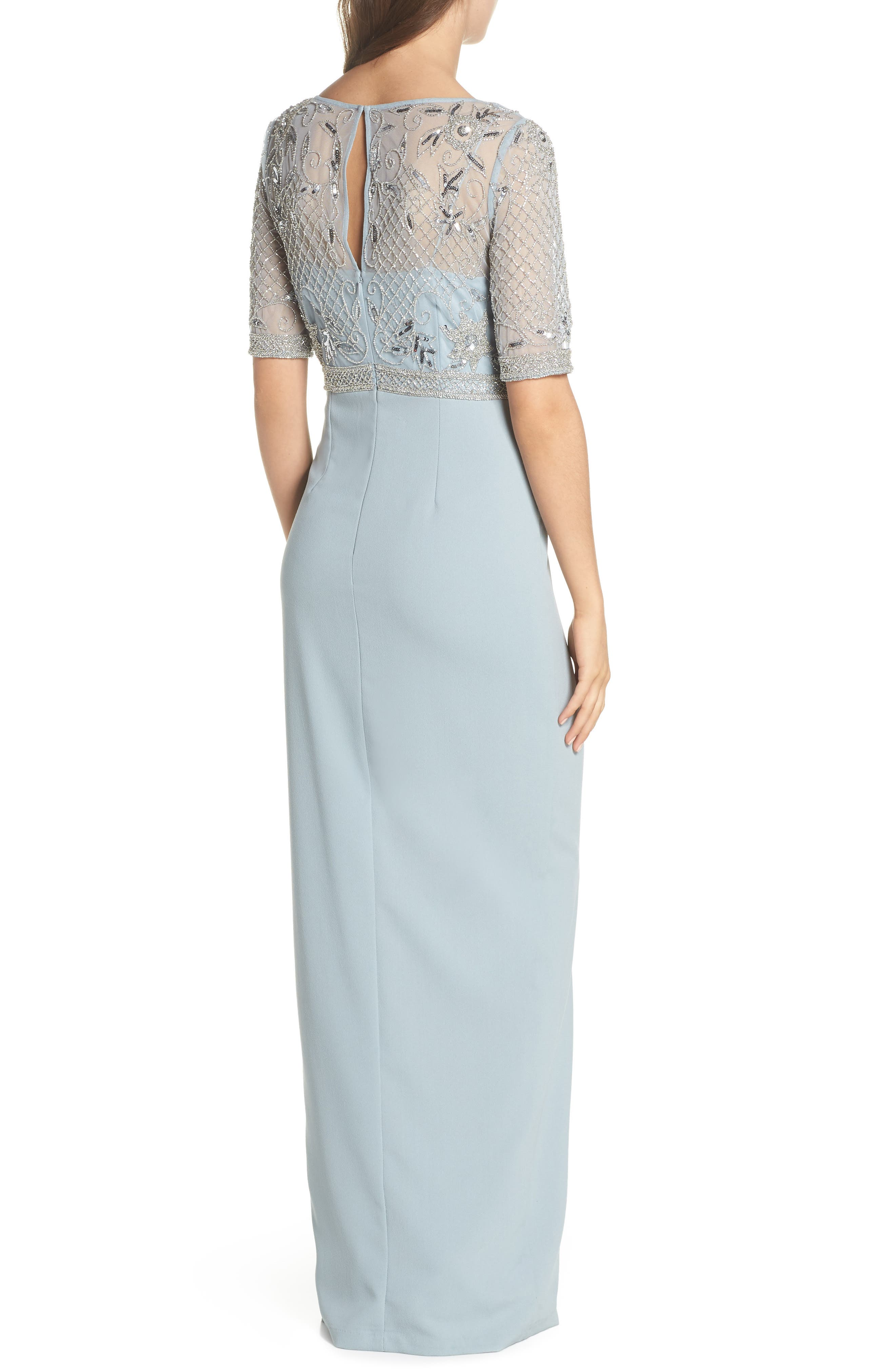 Beaded Gown,                             Alternate thumbnail 2, color,                             BLUE HEATHER