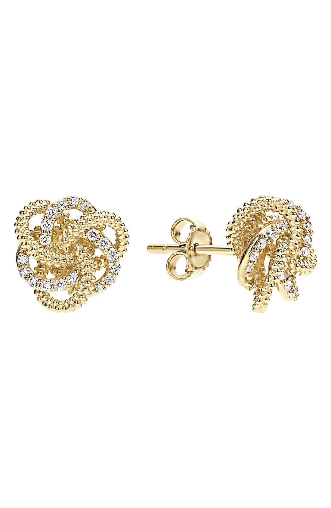 'Love Knot' Diamond Stud Earrings,                             Main thumbnail 1, color,                             GOLD