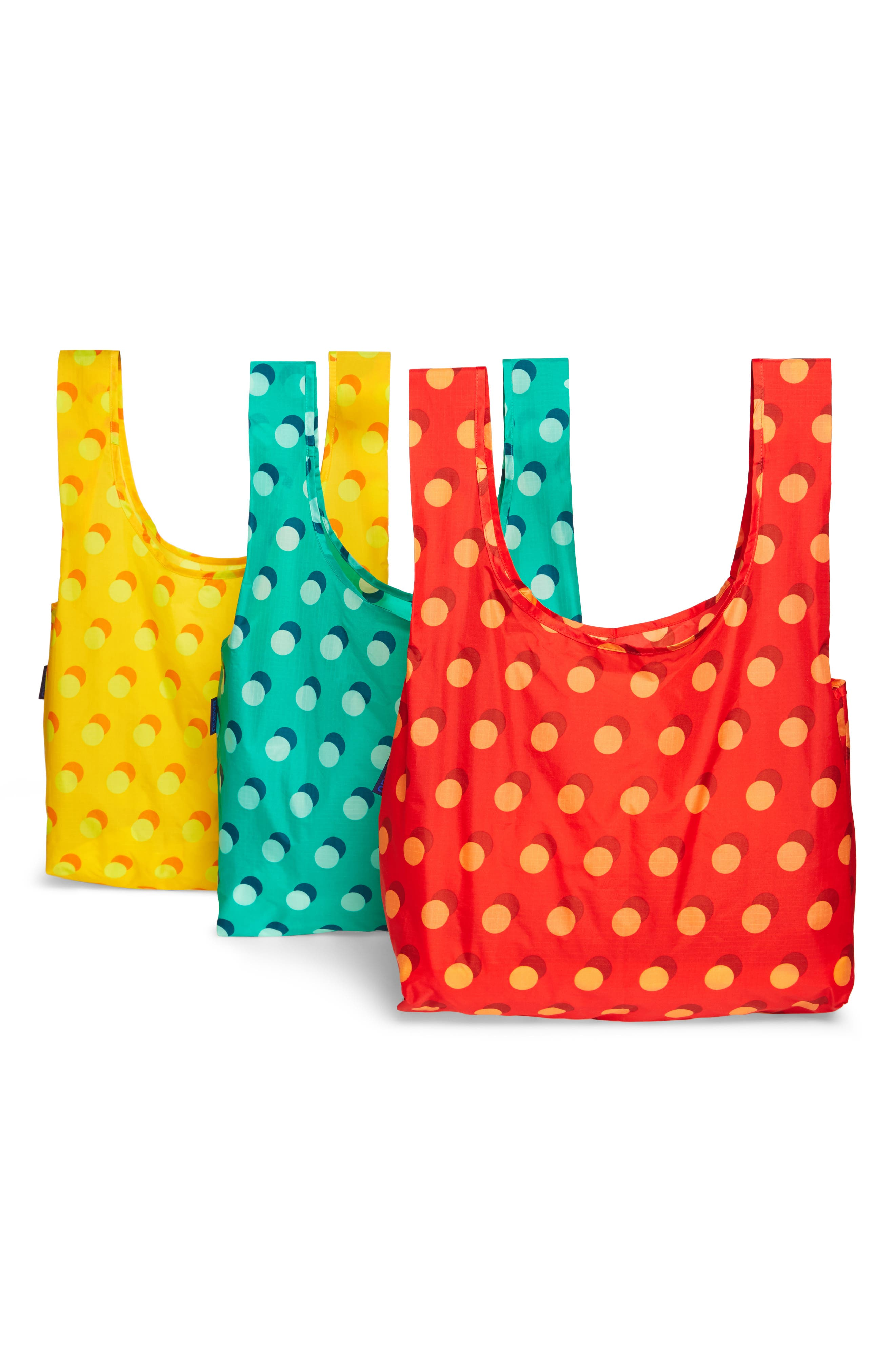 Disco Dot Set of 3 Nylon Totes,                         Main,                         color, 600