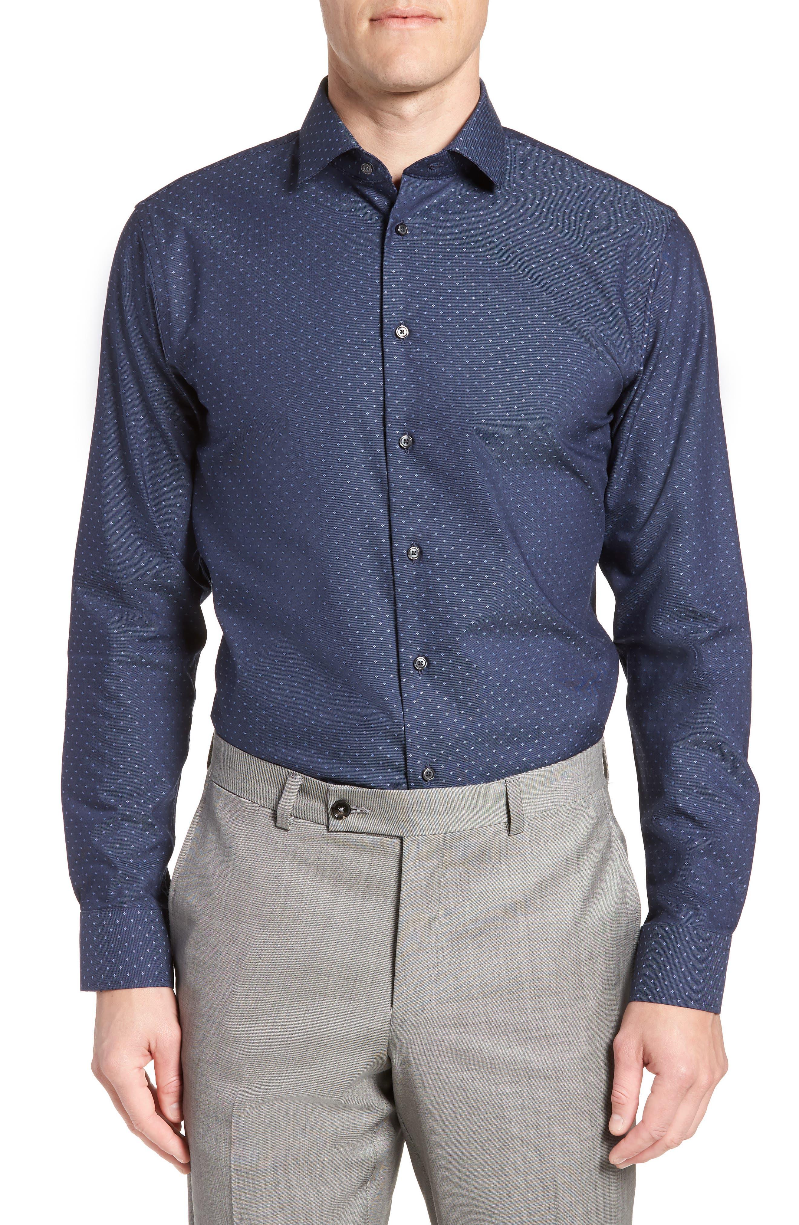 Trim Fit Jacquard Dress Shirt,                             Main thumbnail 1, color,                             410