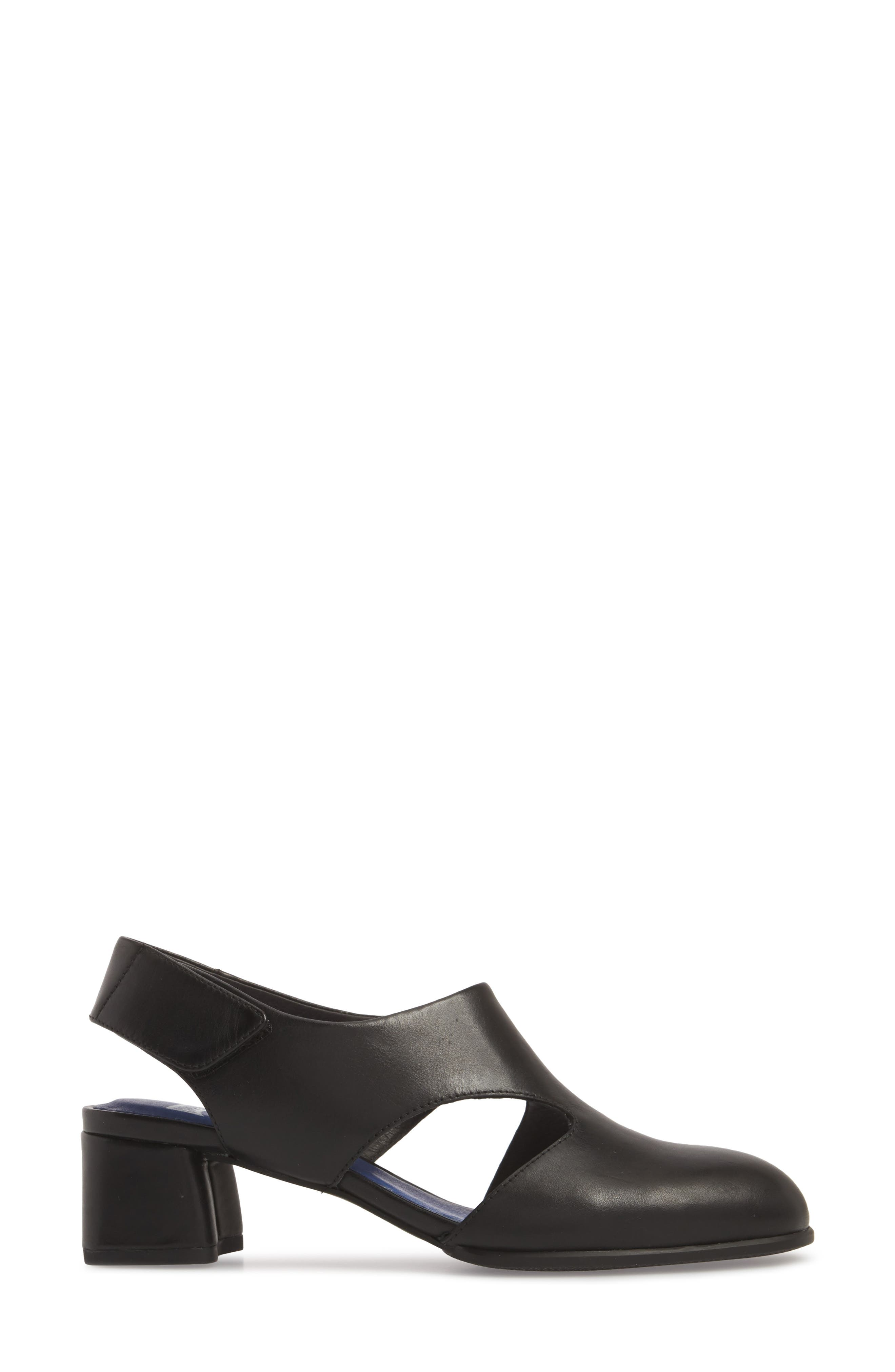 TWS Slingback Pump,                             Alternate thumbnail 3, color,                             BLACK LEATHER