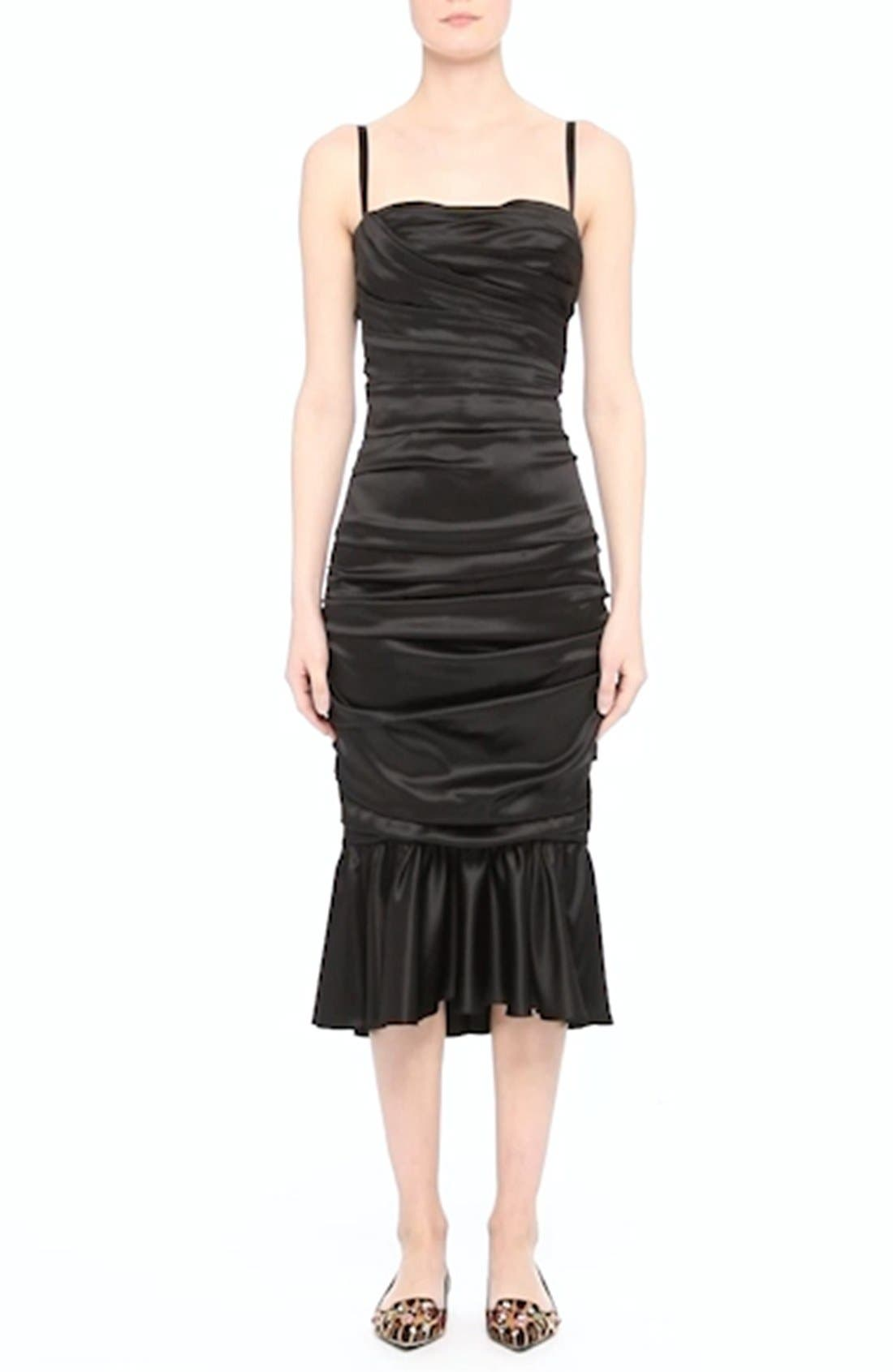 Ruched Stretch Satin Dress,                             Alternate thumbnail 7, color,                             001