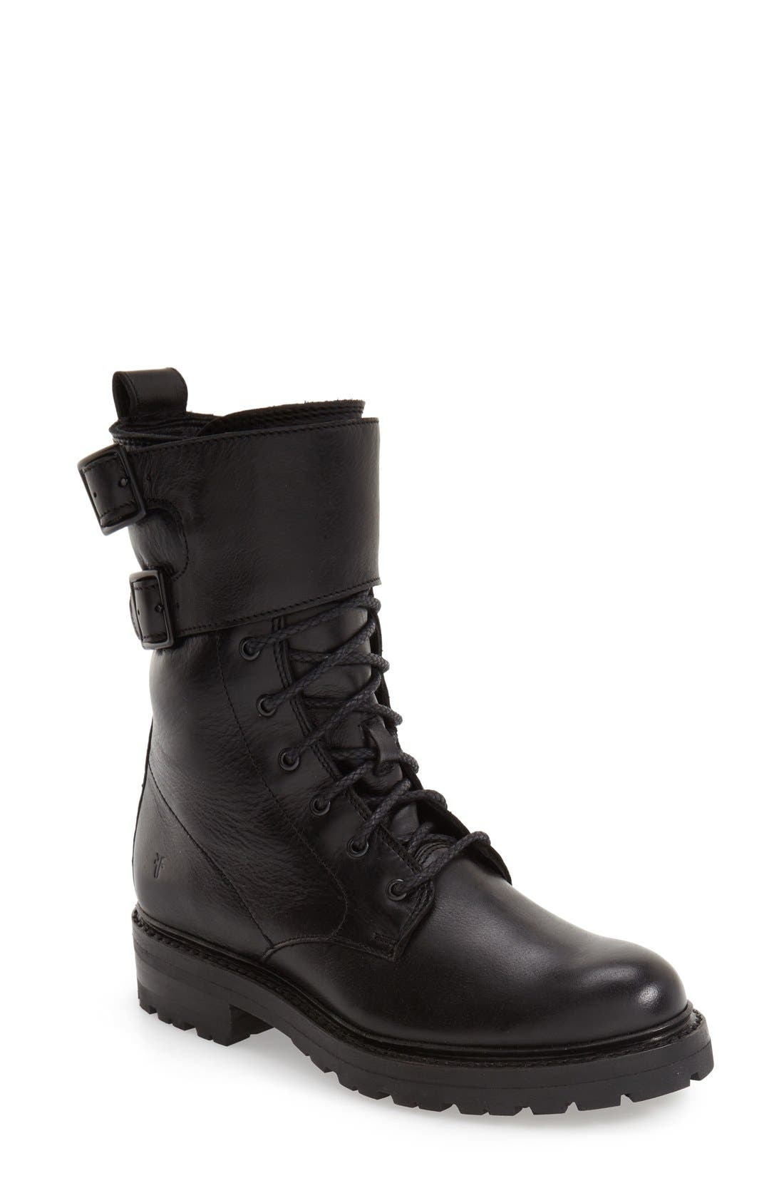 'Julie' Shield Combat Boot,                             Main thumbnail 1, color,                             001