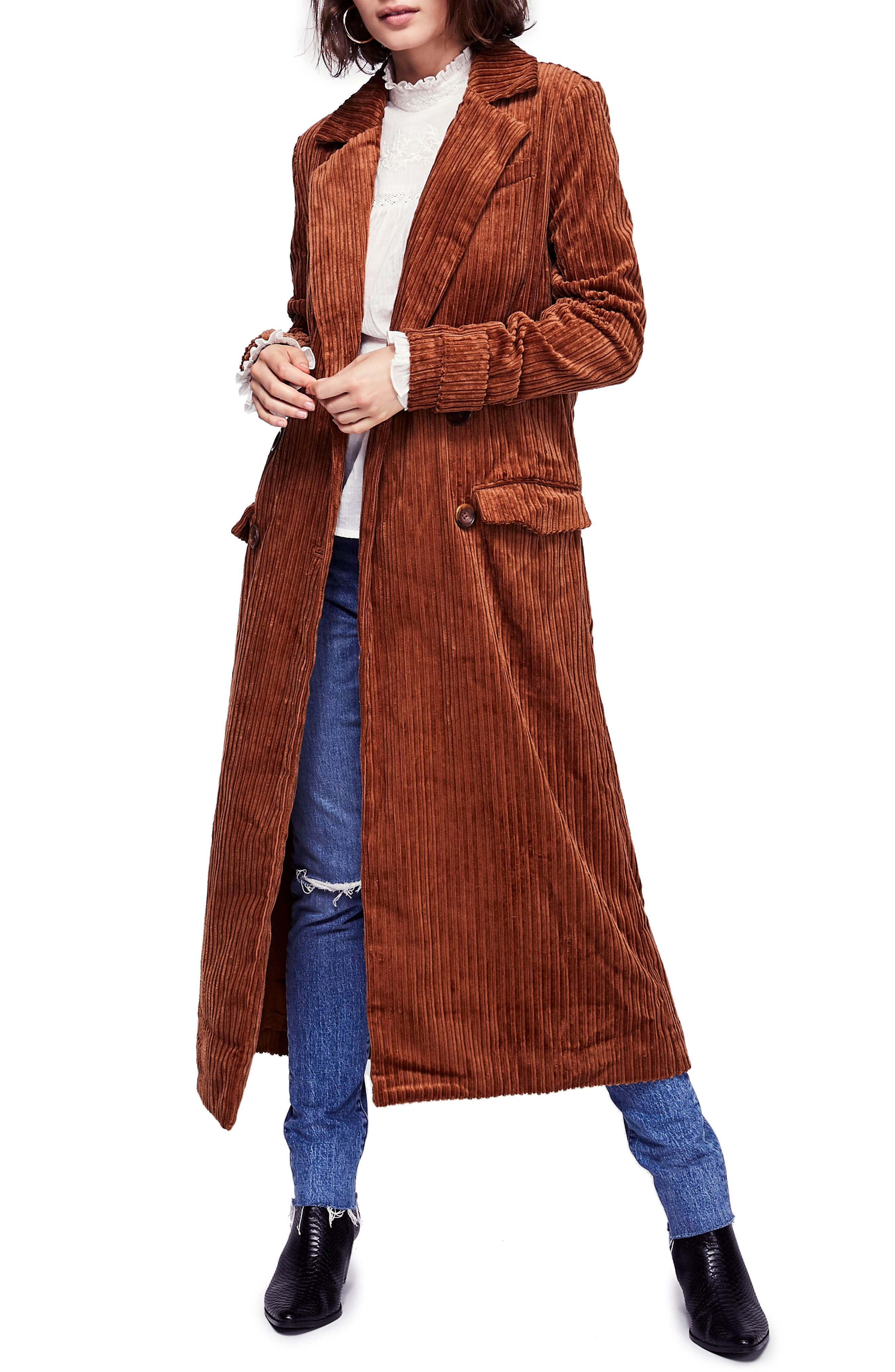 Abbey Road Wide Wale Cotton Corduroy Duster Coat by Free People