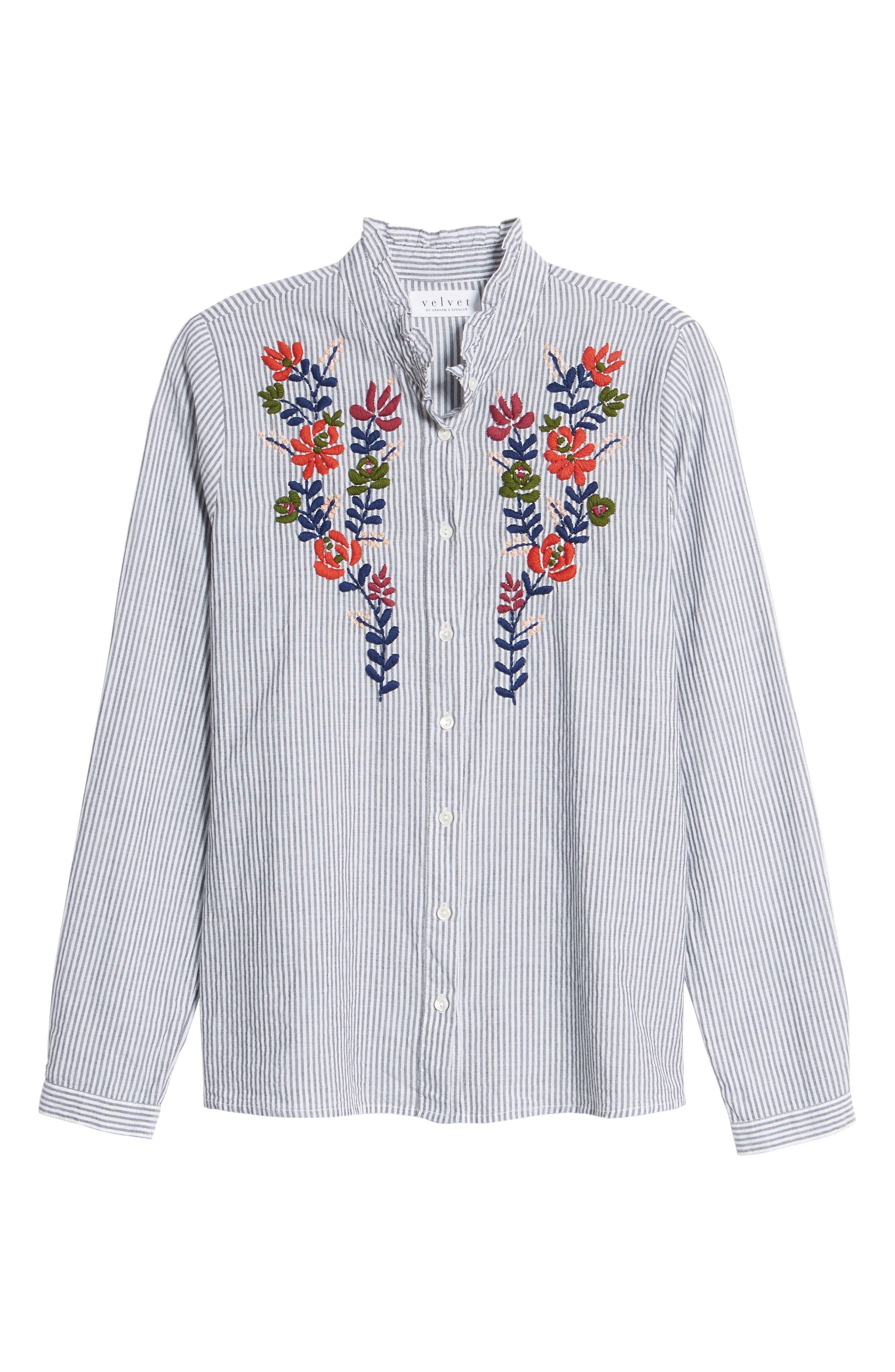Velvet Embroidered Stripe Shirt,                             Alternate thumbnail 6, color,                             960