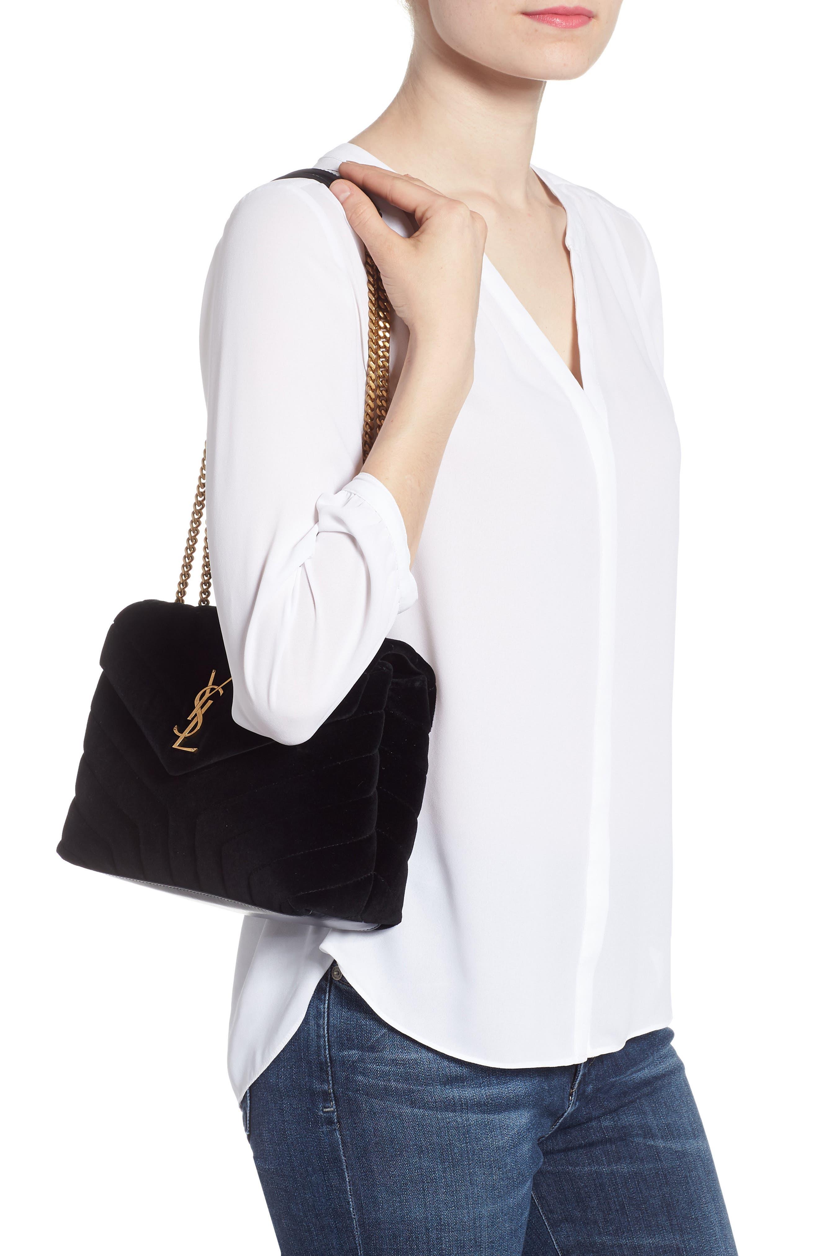 SAINT LAURENT,                             Small Loulou Velvet Shoulder Bag,                             Alternate thumbnail 2, color,                             NERO/ NERO/ NERO