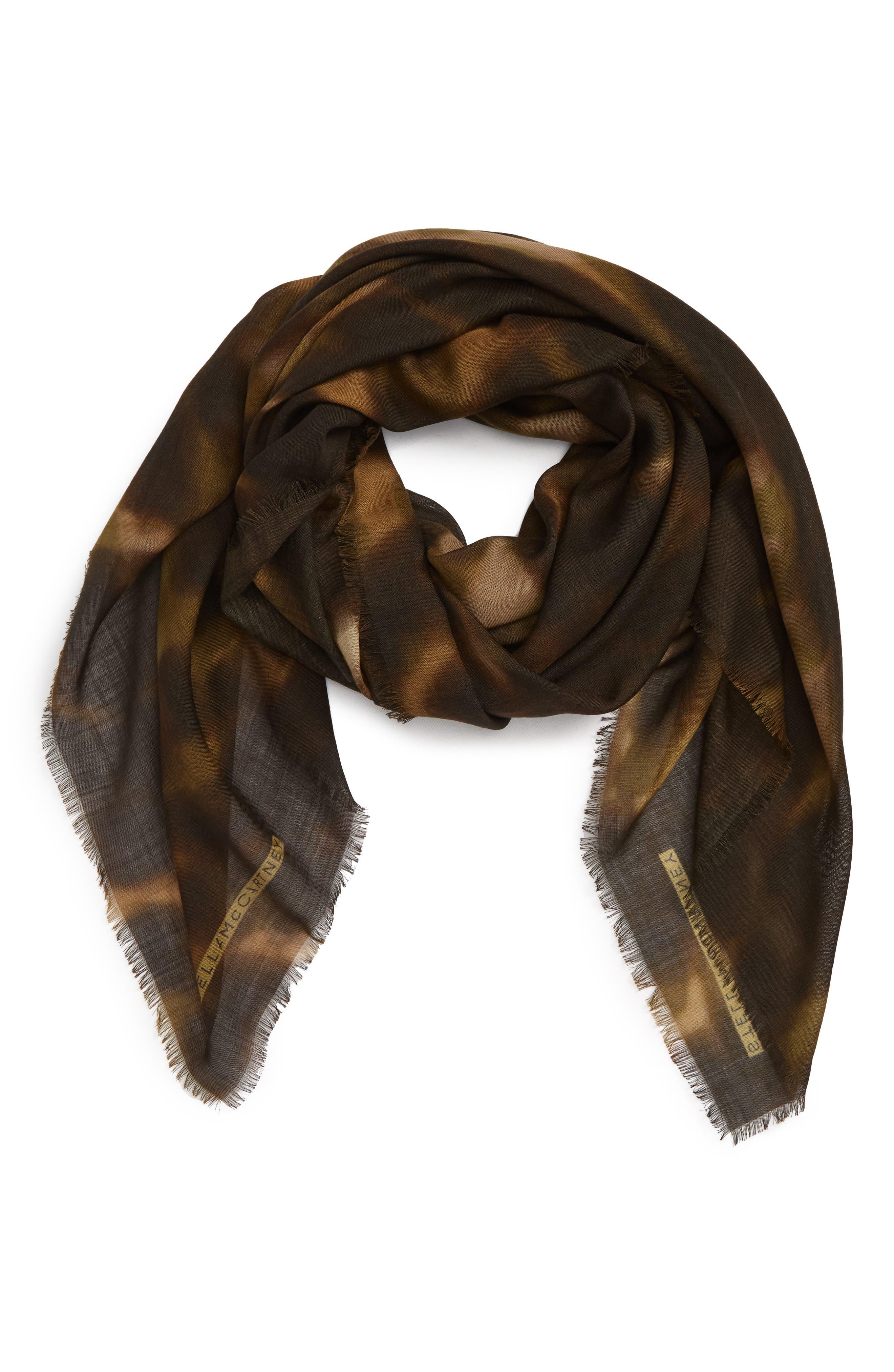 STELLA MCCARTNEY,                             Nina Leopard Print Wool & Silk Scarf,                             Alternate thumbnail 2, color,                             300