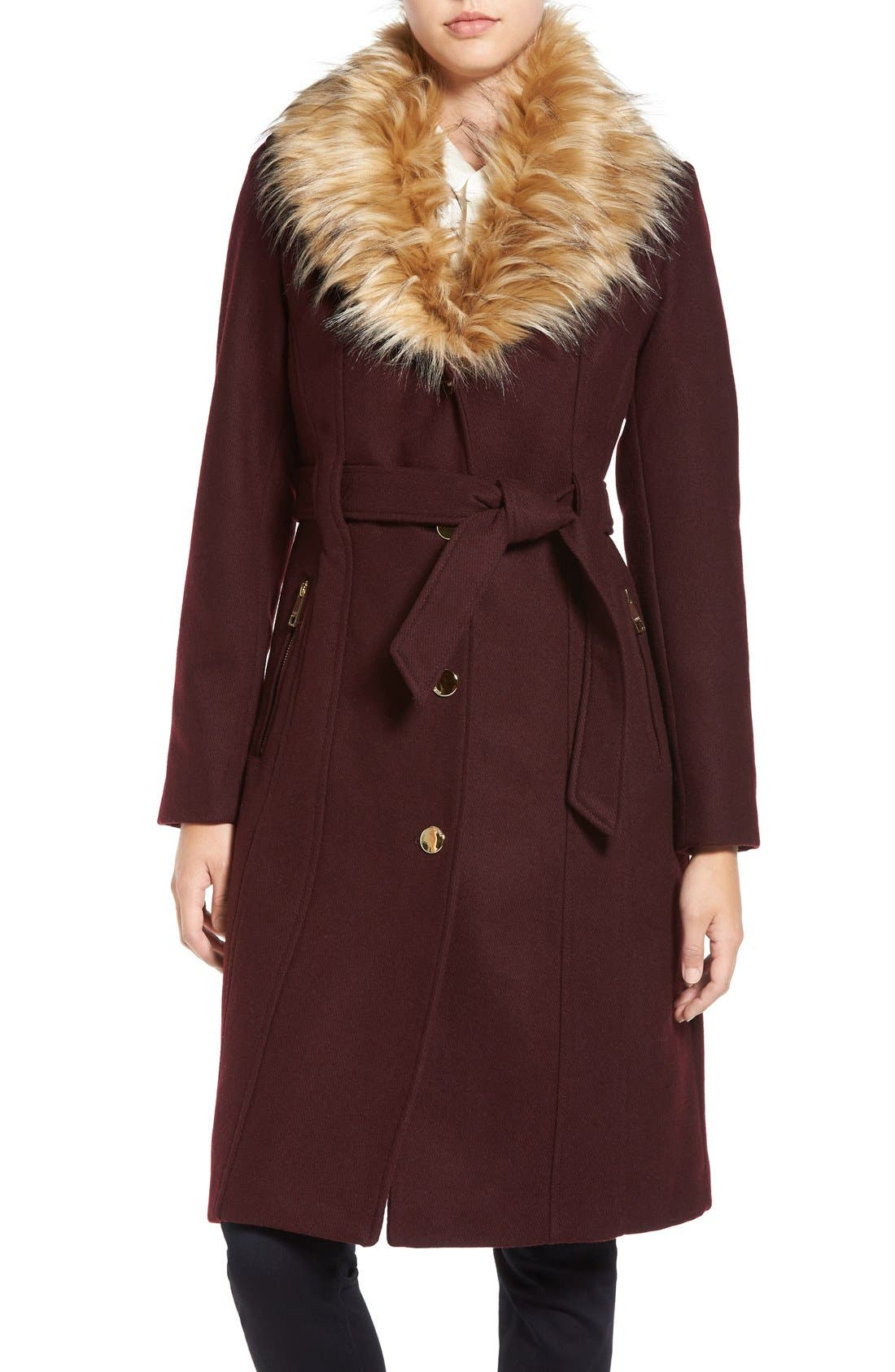 GUESS Trench Coat with Faux Fur Trim, Main, color, 240