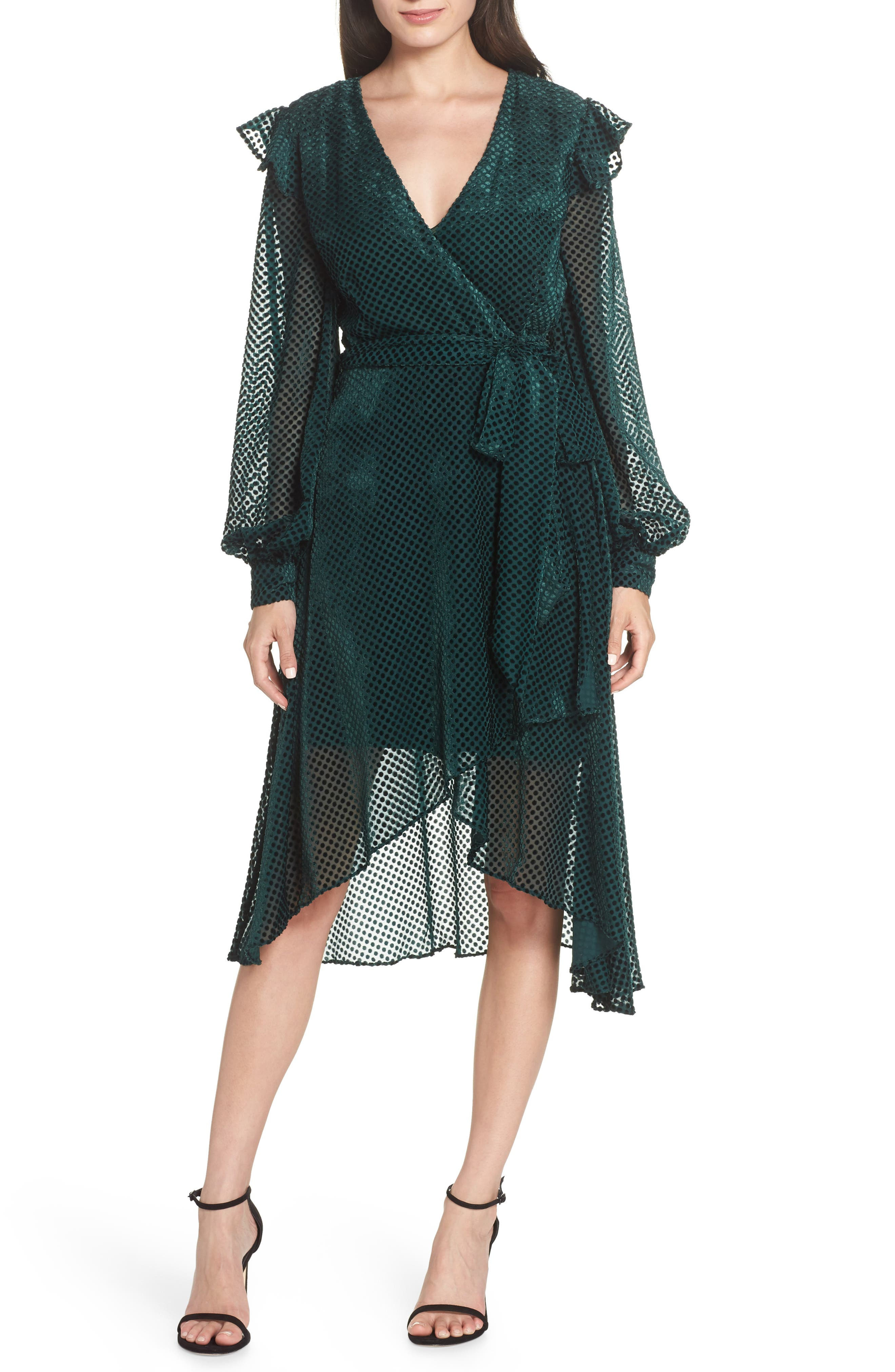 Keepsake The Label Odyssey Velvet Burnout Dress, Green