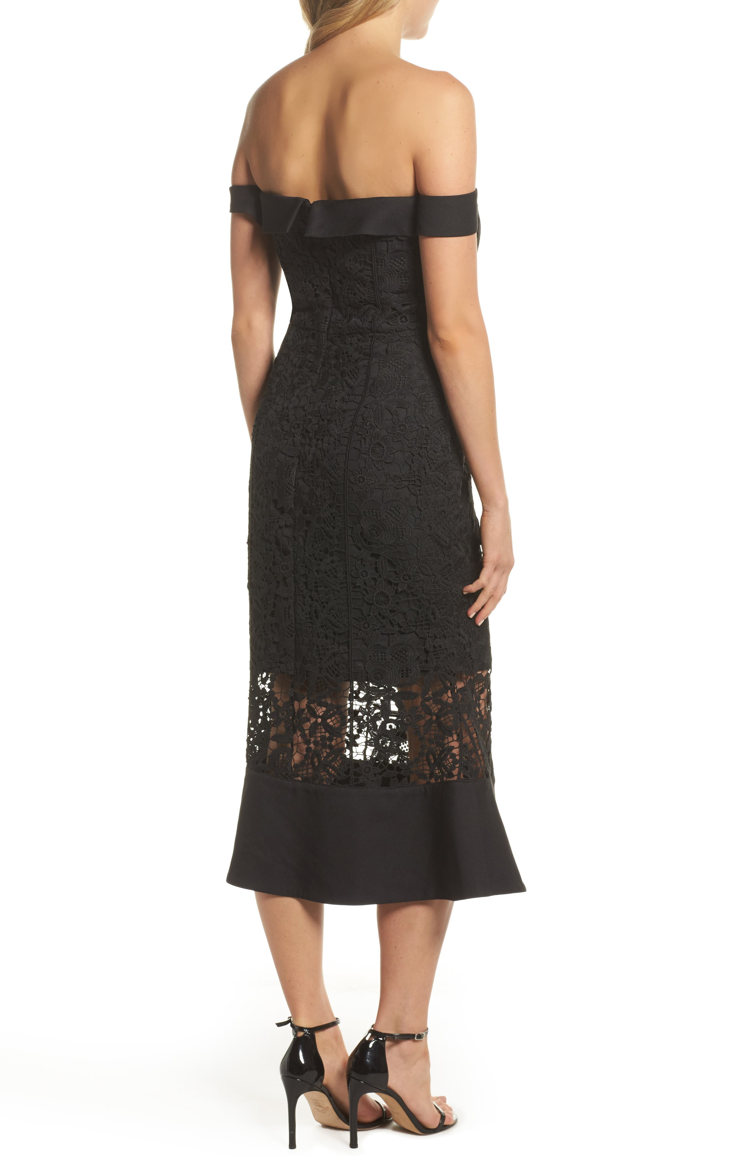 Talia Lace Off the Shoulder Midi Dress,                             Alternate thumbnail 2, color,                             001