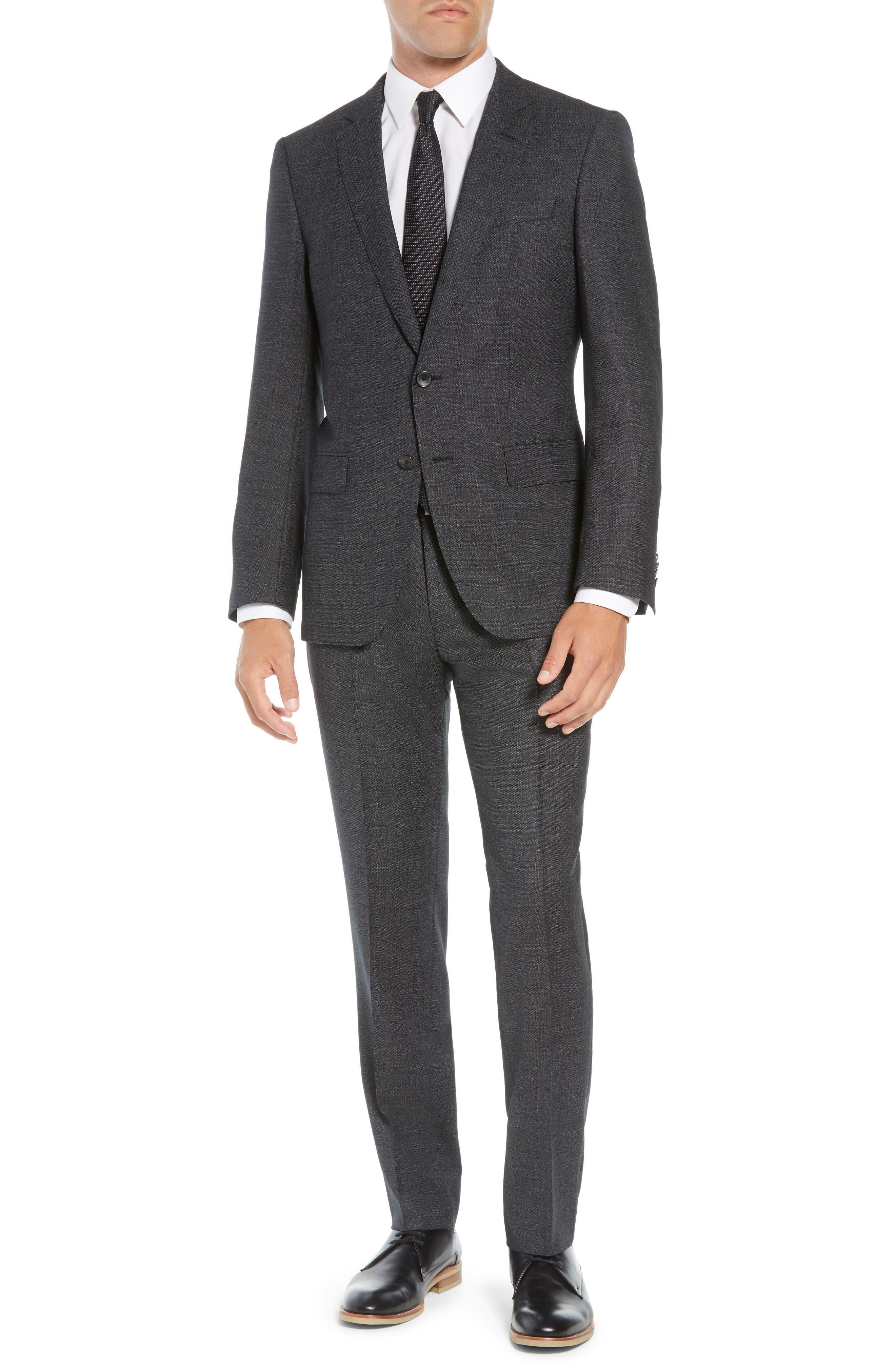 Huge/Genius Trim Fit Solid Wool Suit,                             Main thumbnail 1, color,                             BLACK