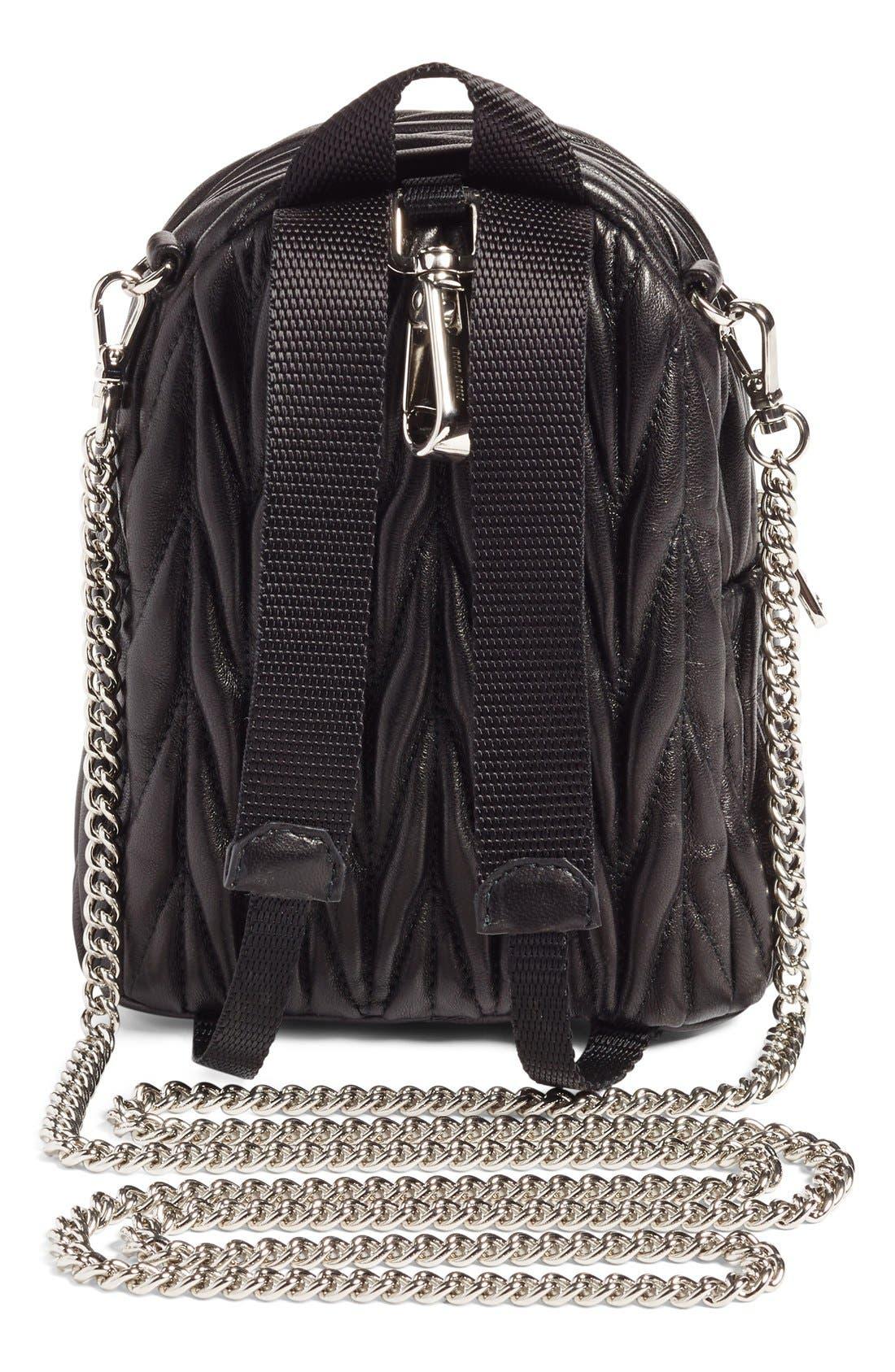Micro Matelassé Leather Backpack,                             Alternate thumbnail 3, color,                             001